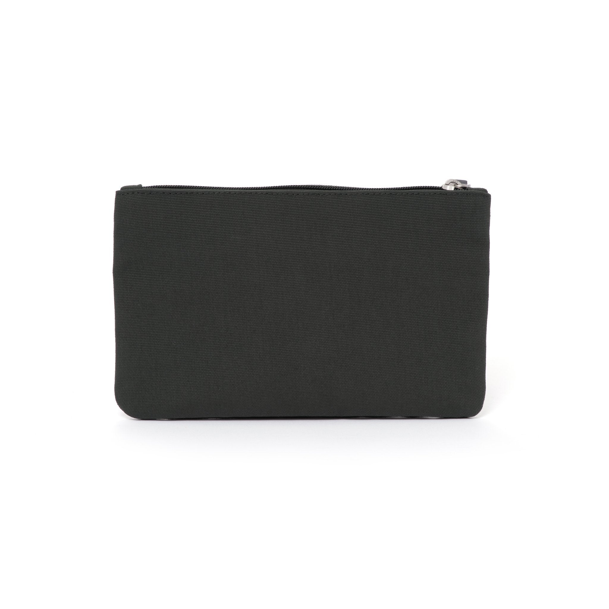 Grey canvas travel wallet.