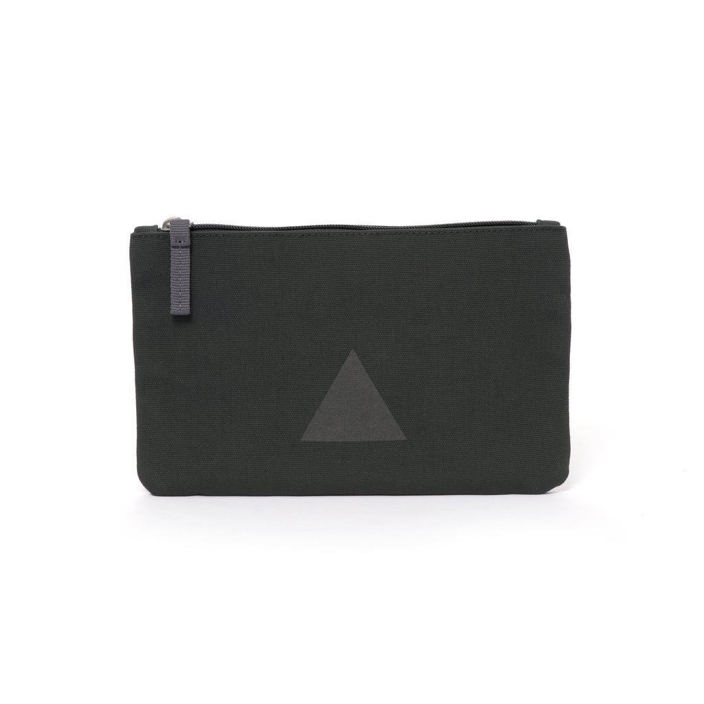 Grey canvas travel wallet with zip opening and triangle logo.