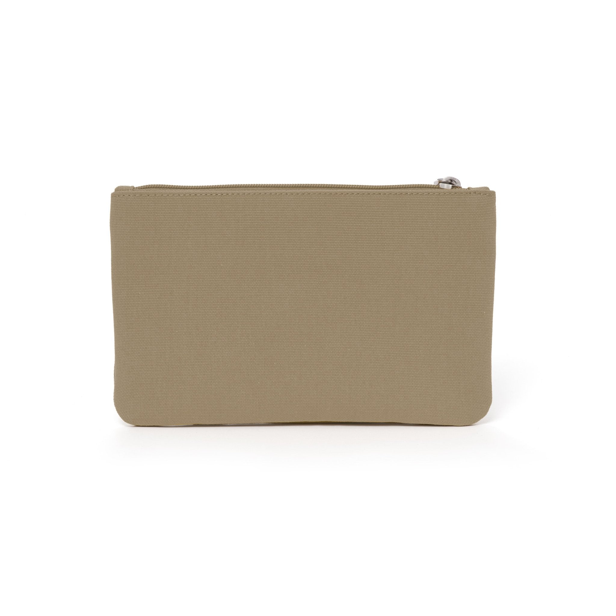 Khaki canvas travel wallet.