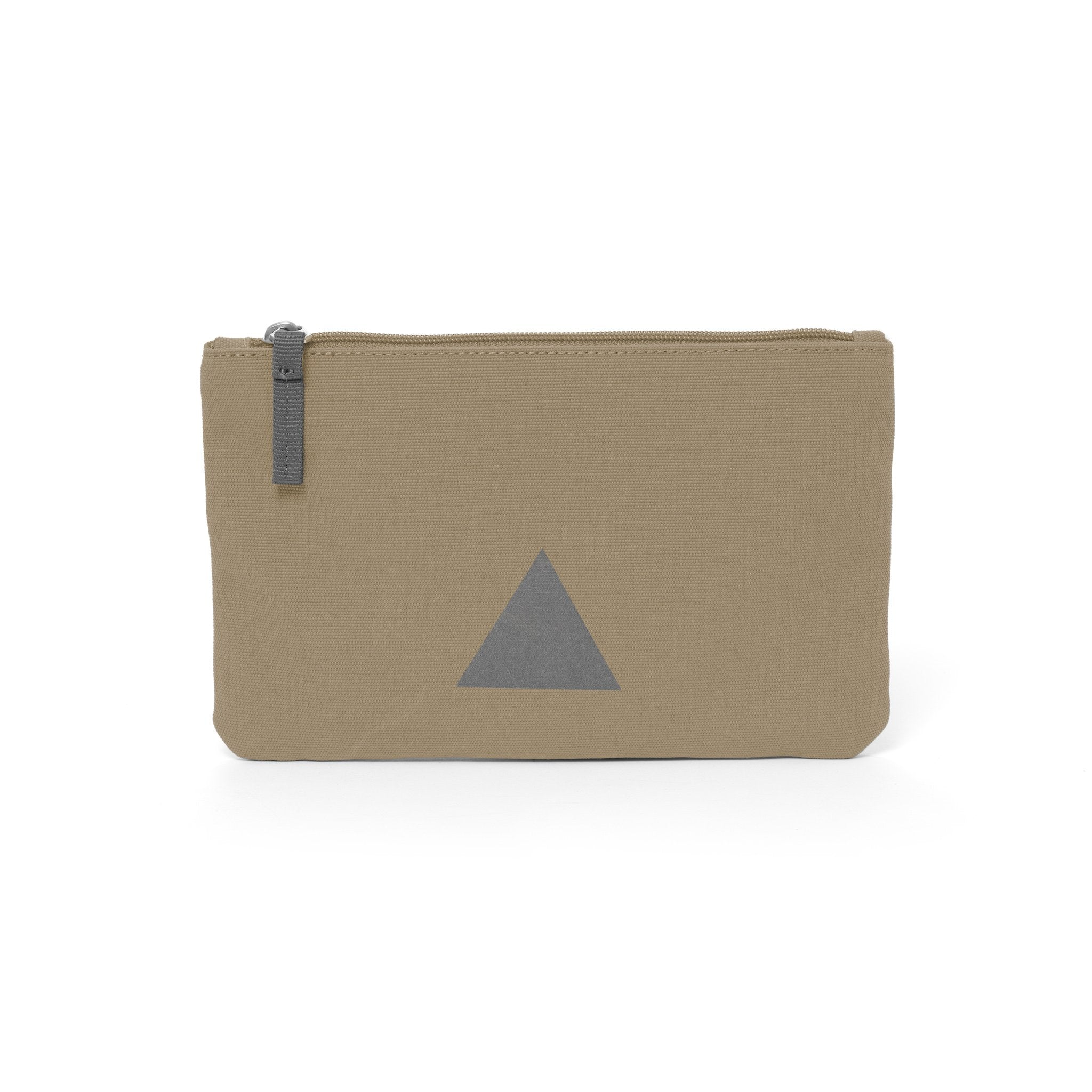 Khaki canvas travel wallet with zip opening and triangle logo.