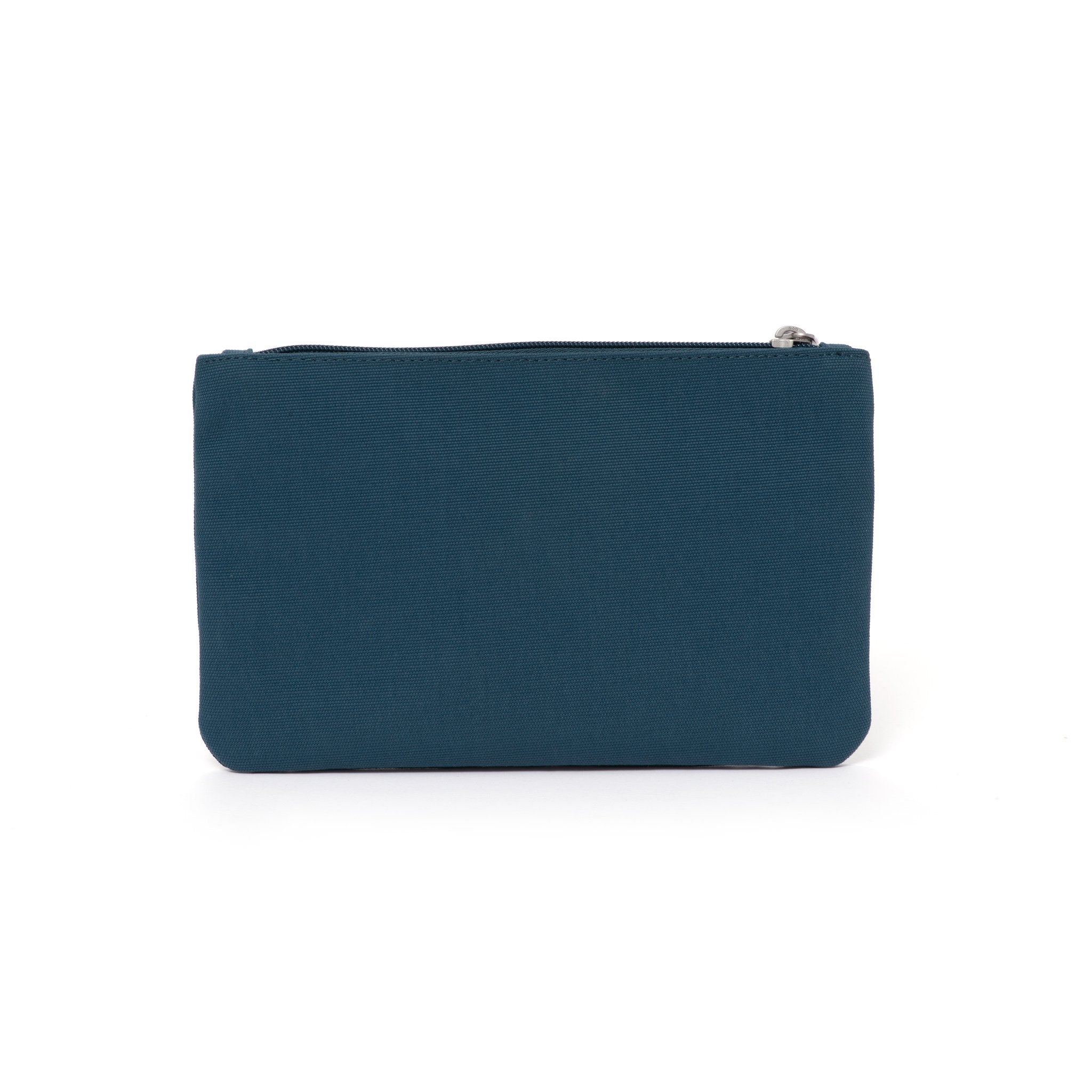 Blue canvas travel wallet.