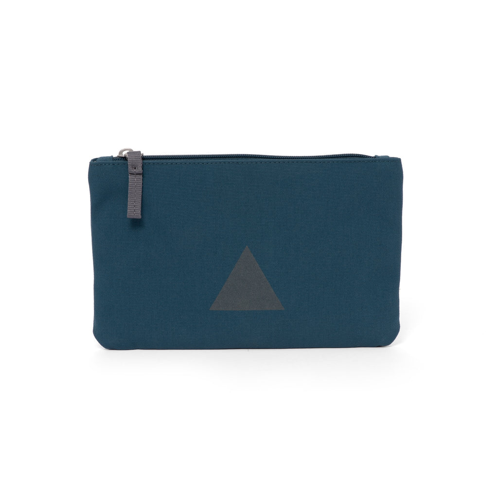 Blue canvas travel wallet with zip opening and triangle logo.