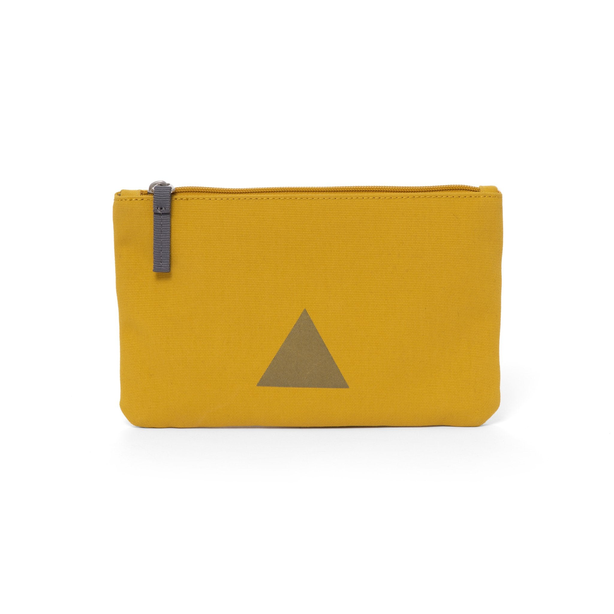 Yellow canvas travel wallet with zip opening and triangle logo.