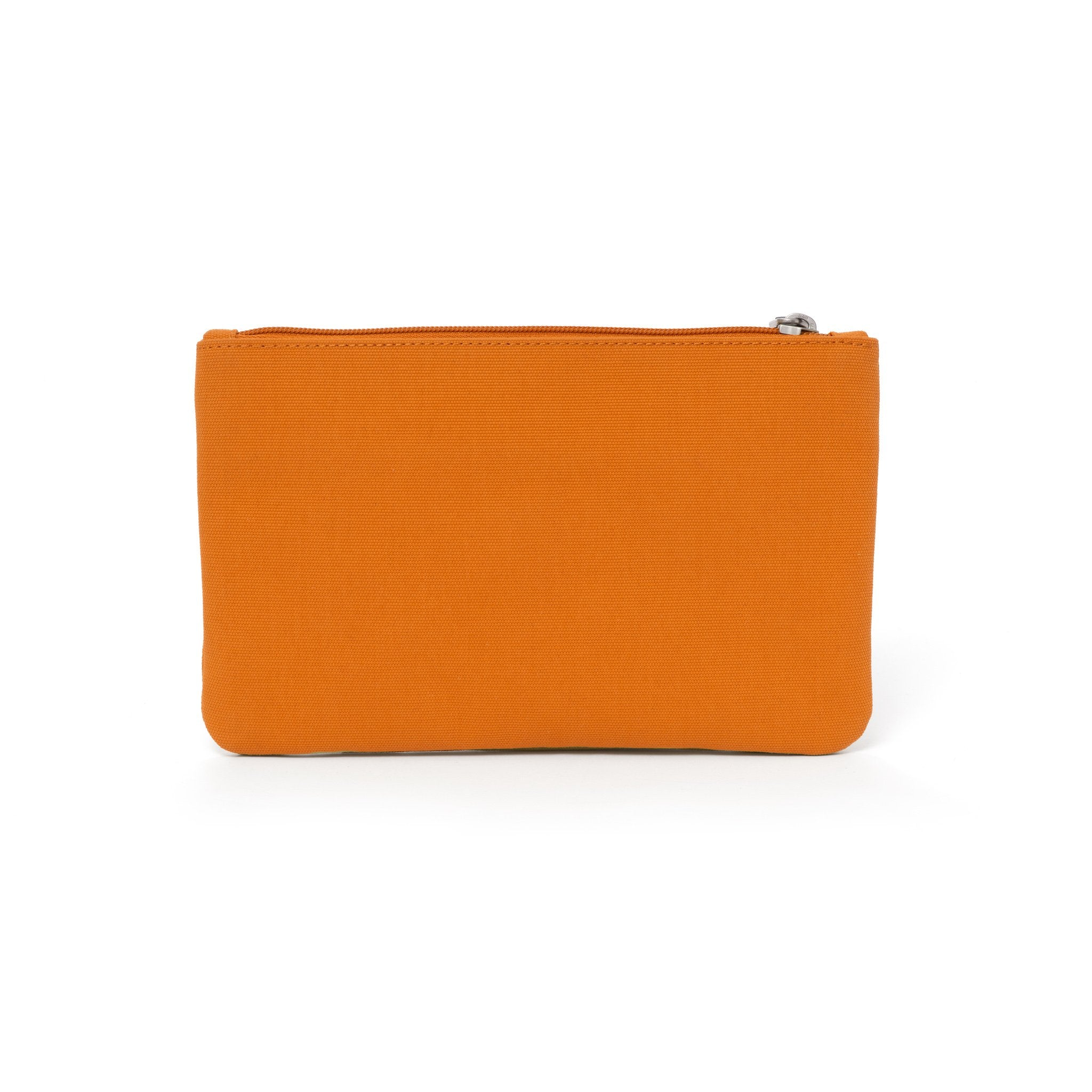Orange canvas travel wallet.