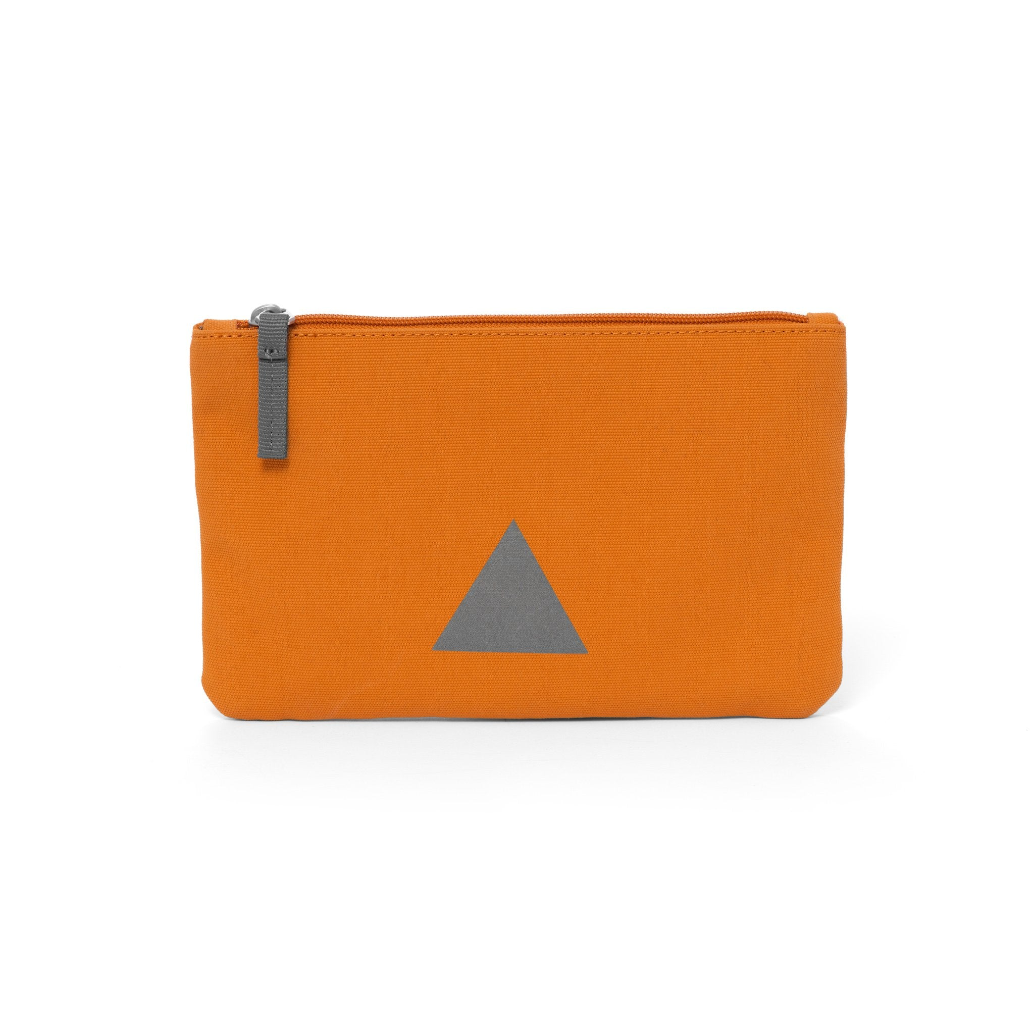Orange canvas travel wallet with zip opening and triangle logo.