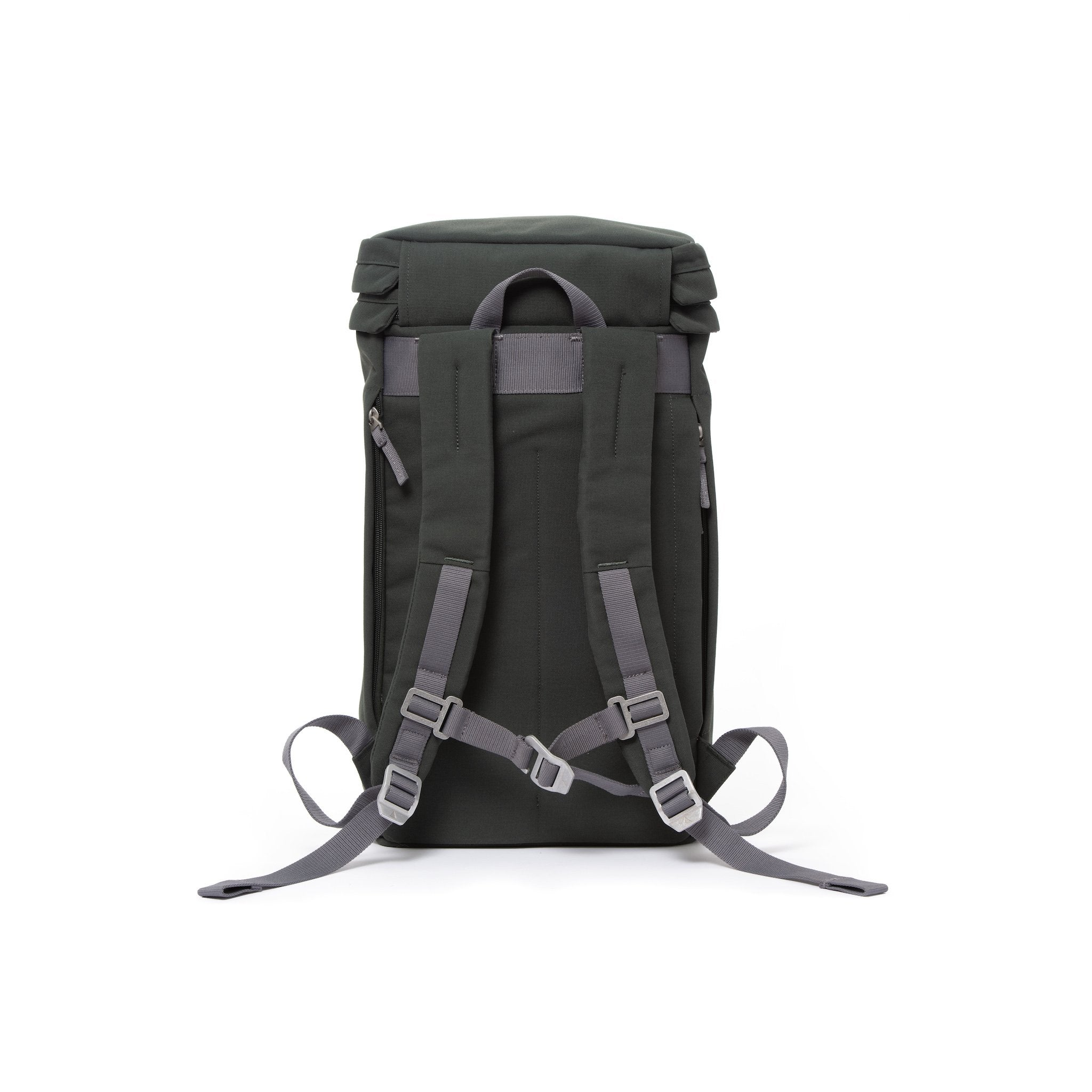 Grey canvas backpack with padded shoulder straps and chest strap.