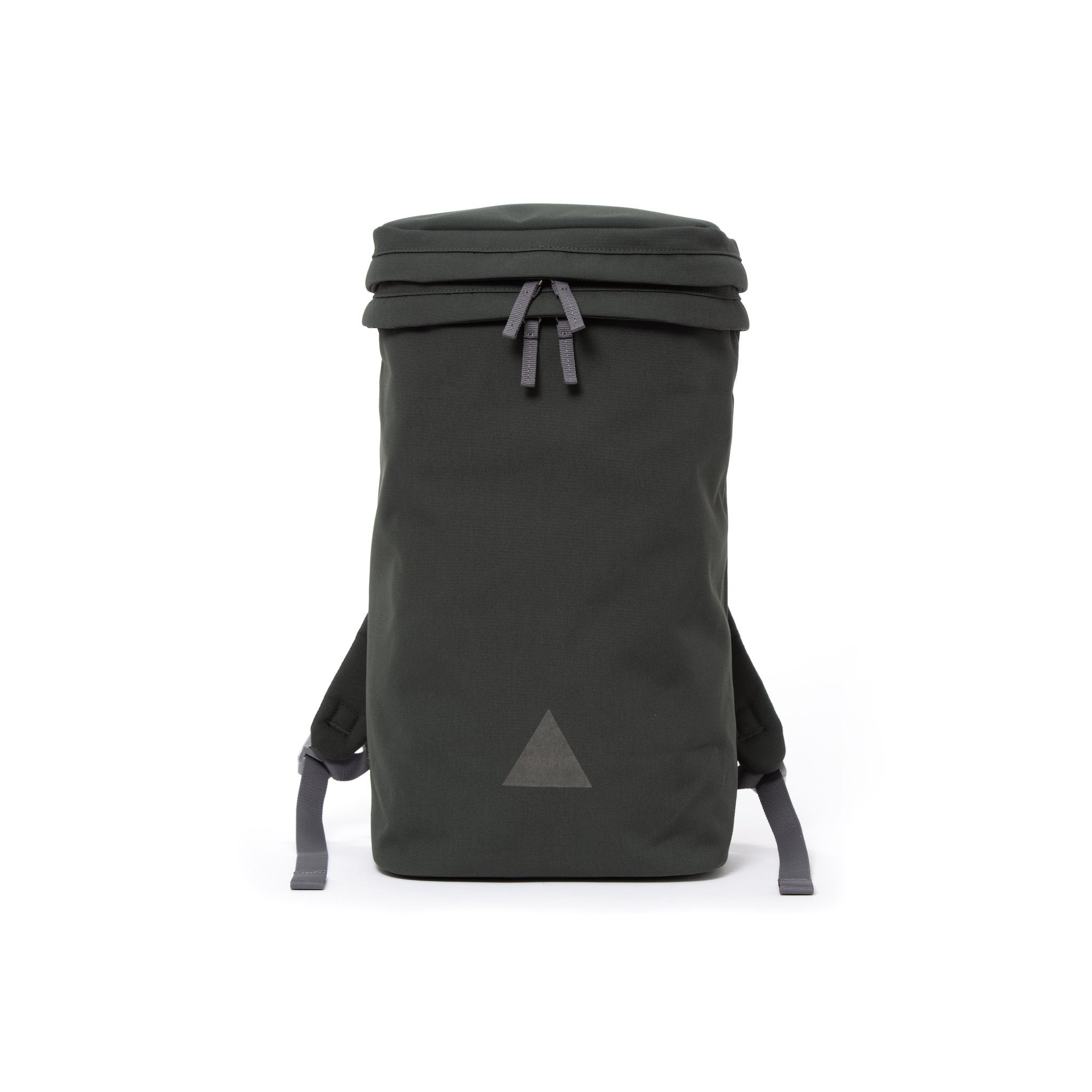Grey canvas backpack with zip opening, padded shoulder straps and triangle logo.