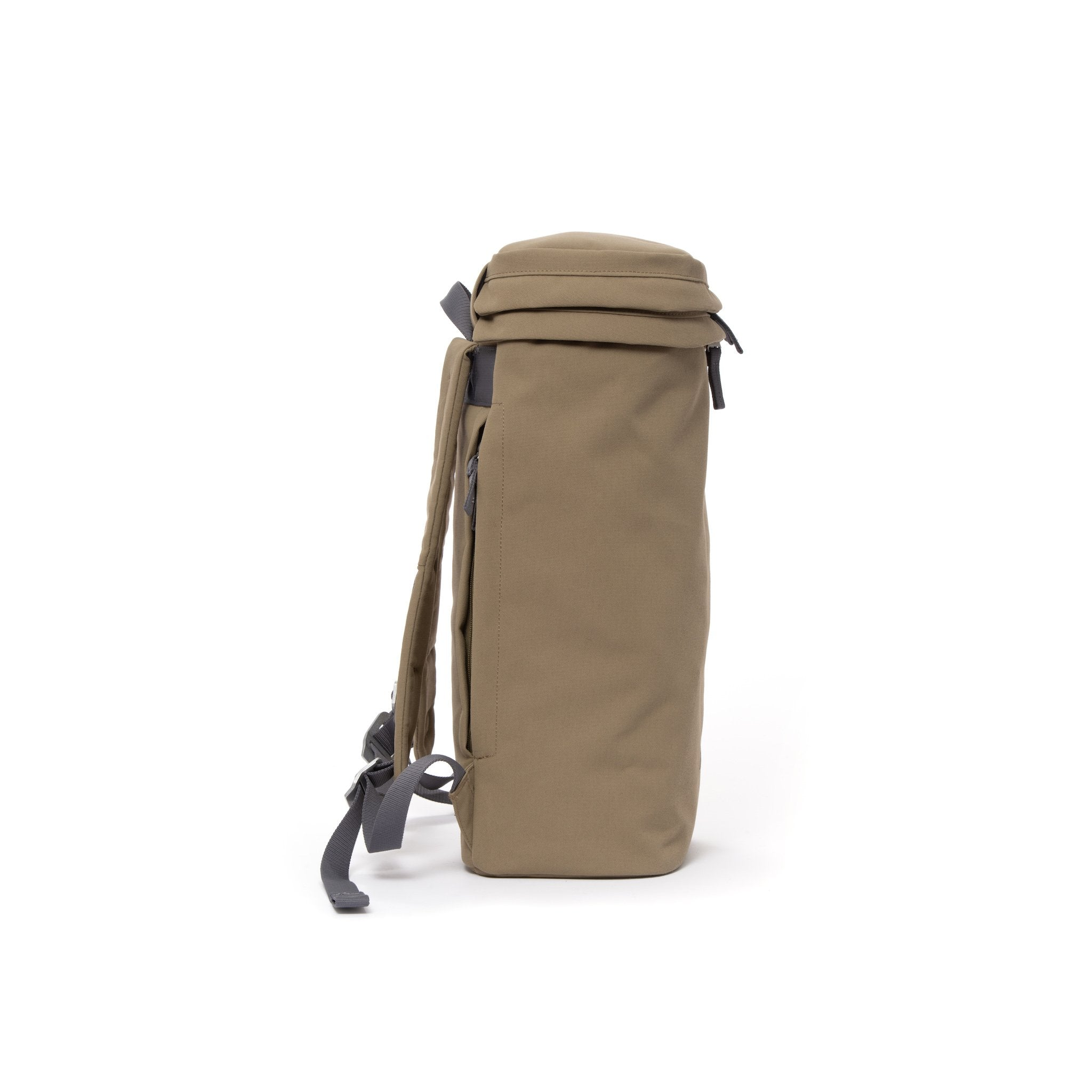 Khaki canvas backpack with top zip pocket.