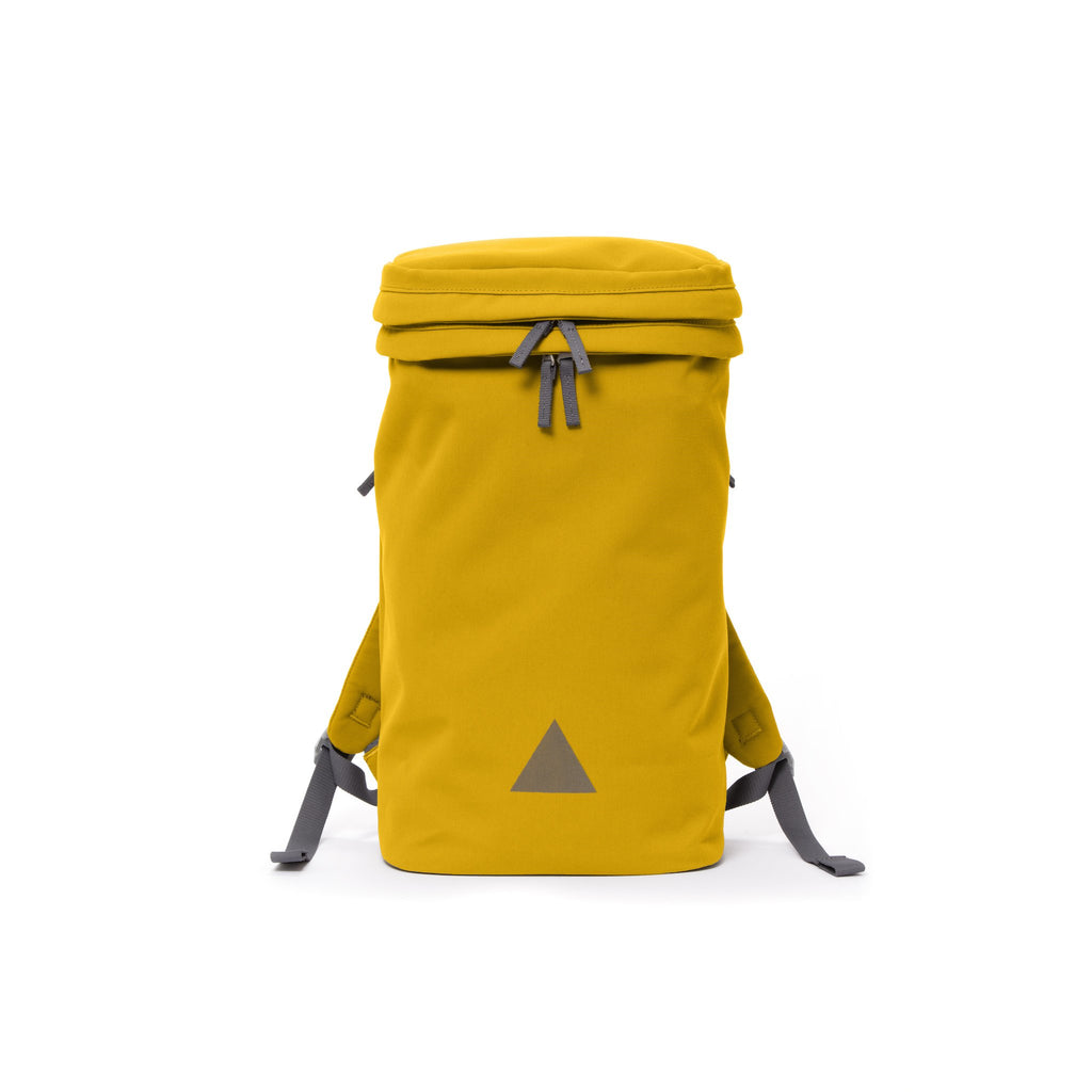 Yellow canvas backpack with zip opening, padded shoulder straps and triangle logo.