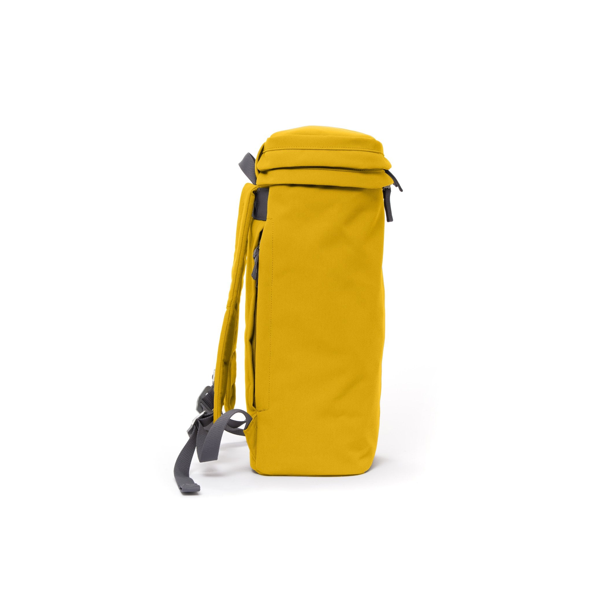 Yellow canvas backpack with top zip pocket.