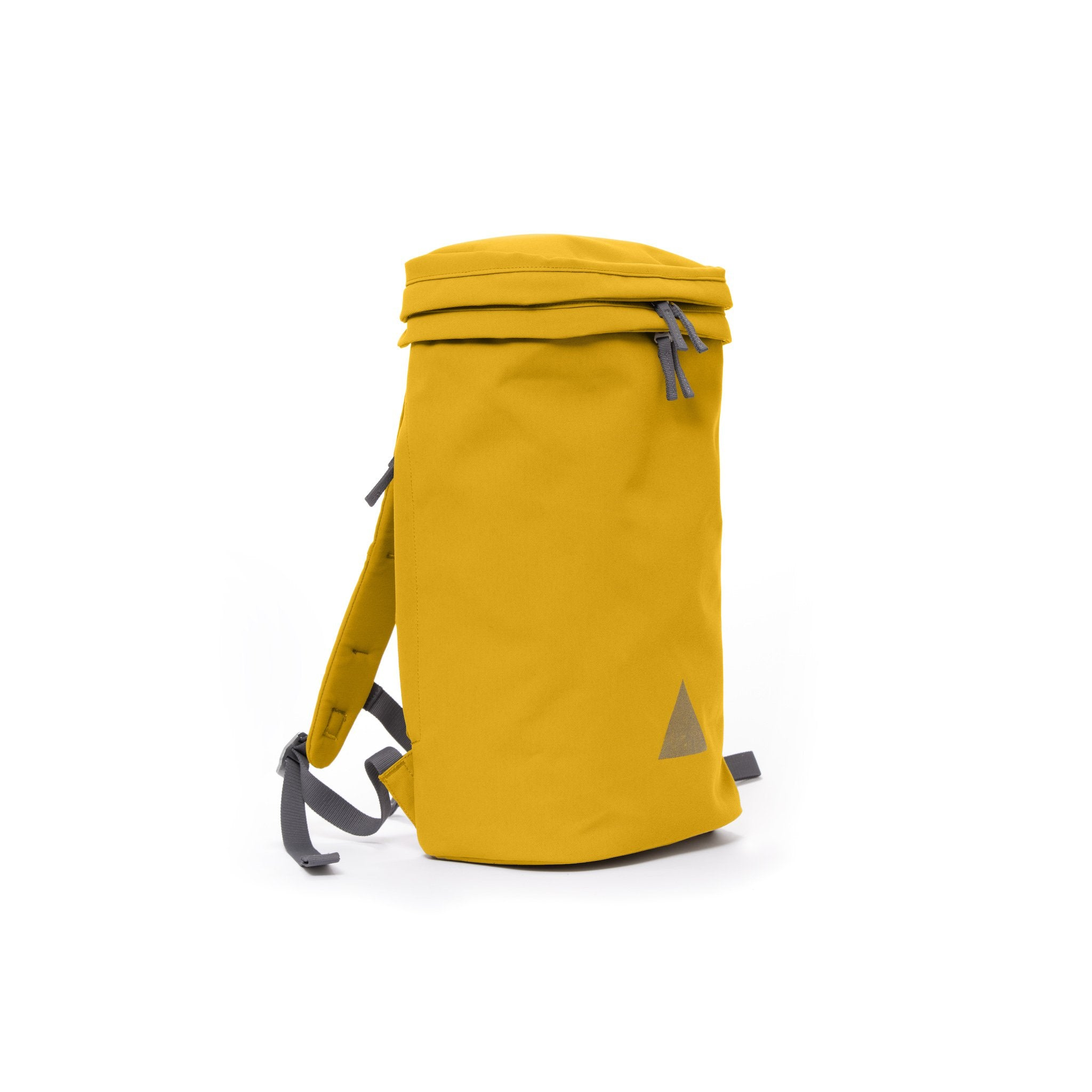 Yellow canvas backpack with padded shoulder straps and triangle logo.