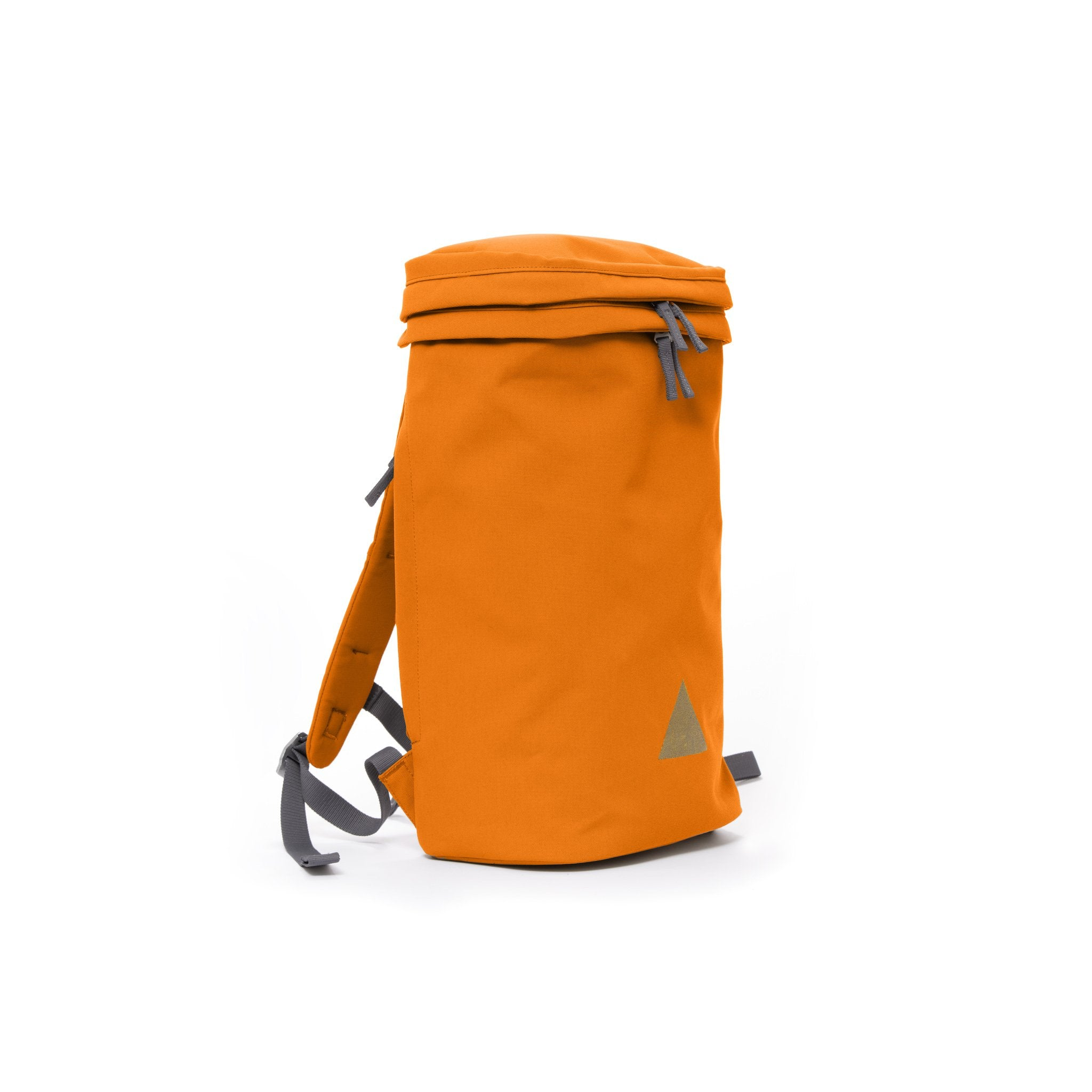Orange canvas backpack with padded shoulder straps and triangle logo.