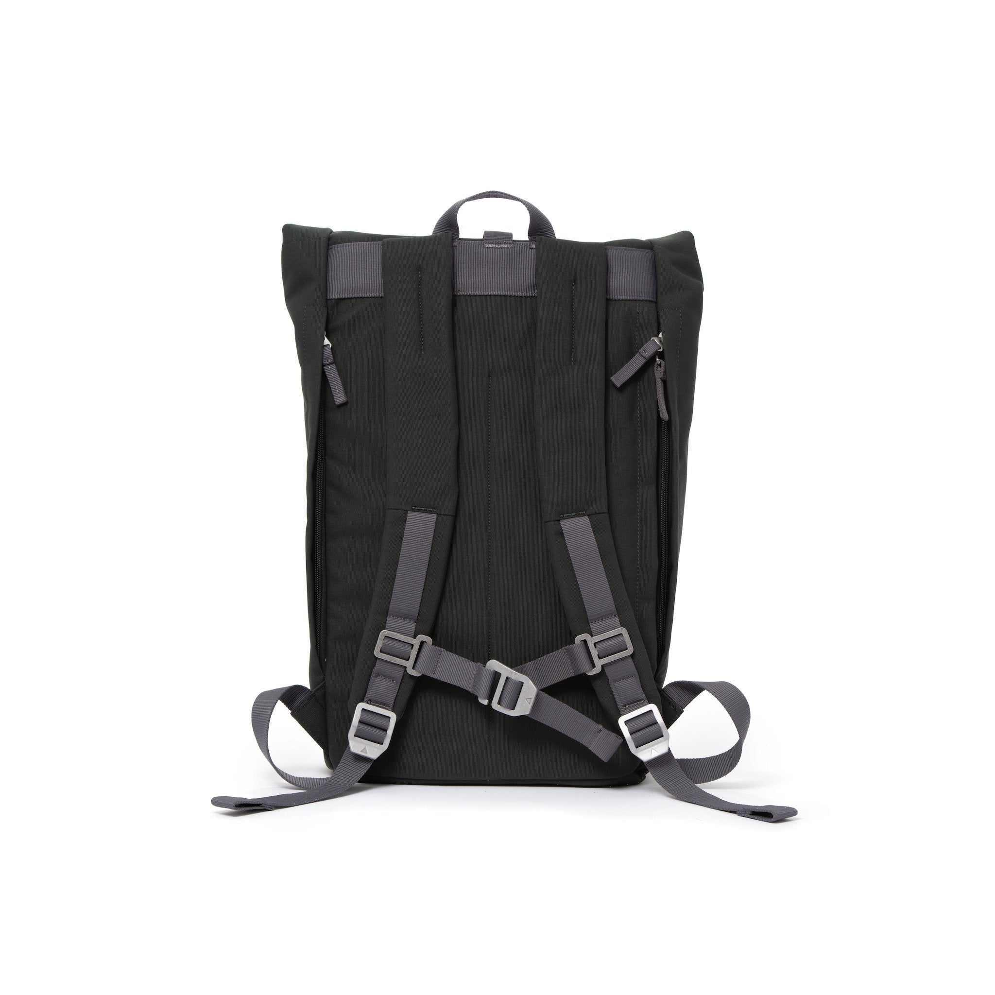 Grey rolltop backpack with padded shoulder straps and chest strap.