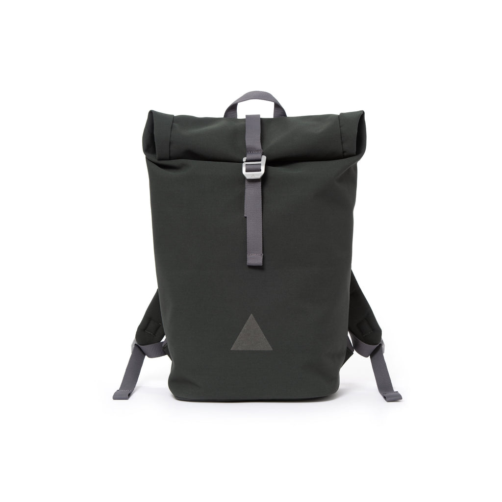 Grey recycled canvas men's rolltop backpack with triangle logo.
