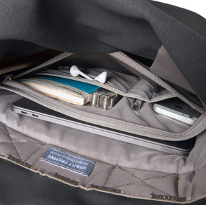 Grey backpack interior organiser pocket with guidebook and earphones.