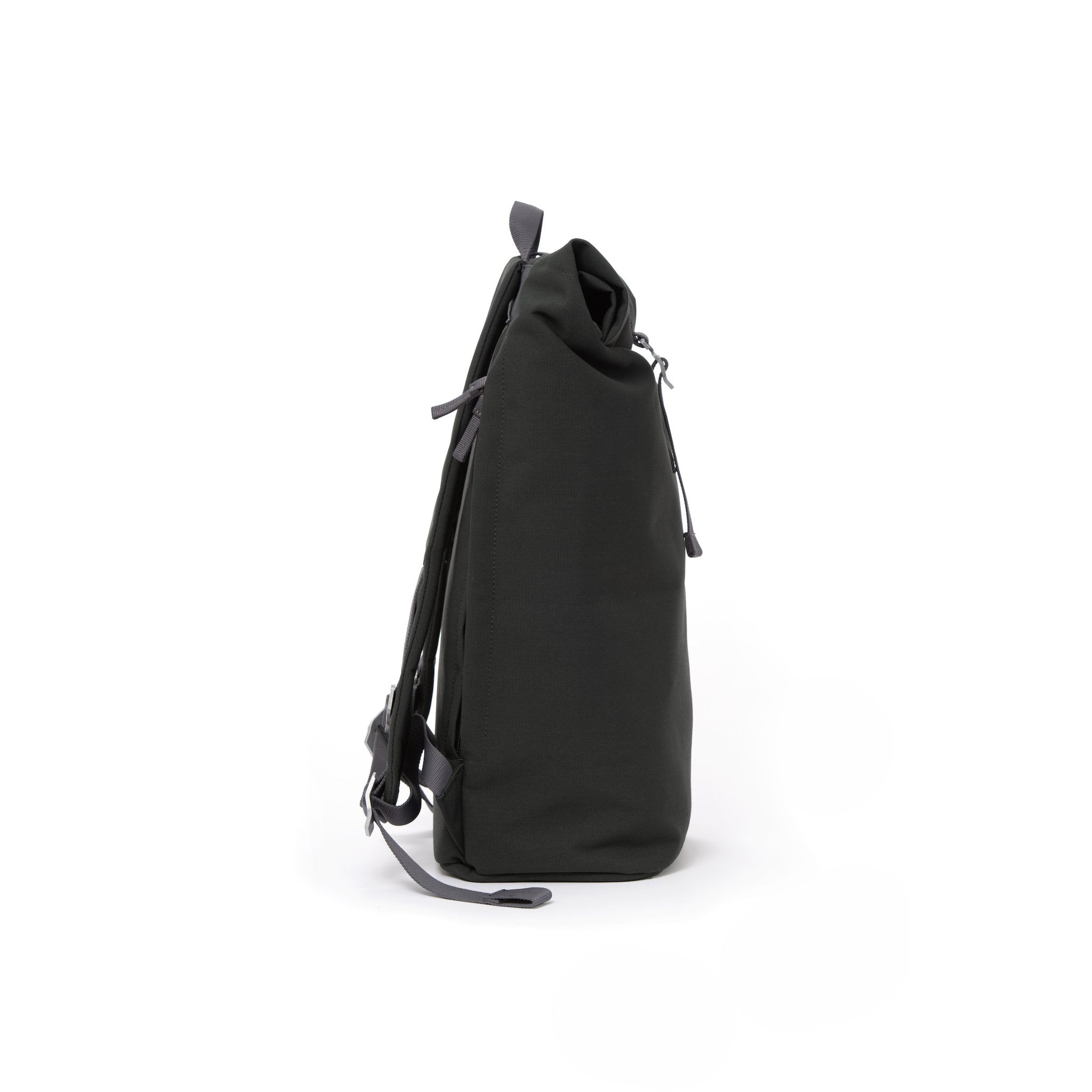 Grey waterproof canvas men's rolltop backpack.