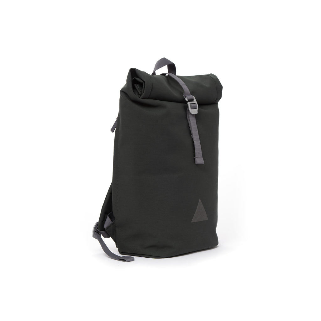 Grey recycled canvas men's rolltop backpack.