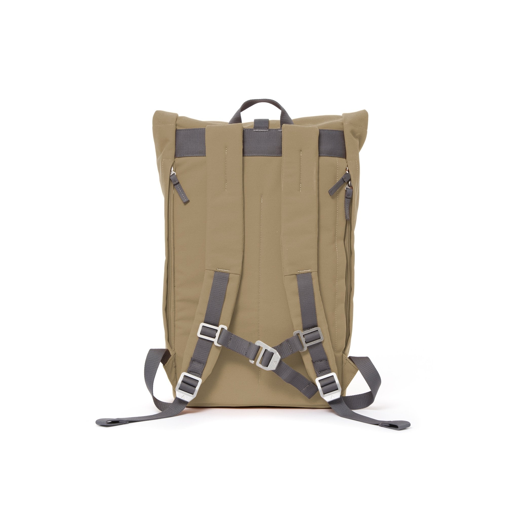 Khaki rolltop backpack with padded shoulder straps and chest strap.