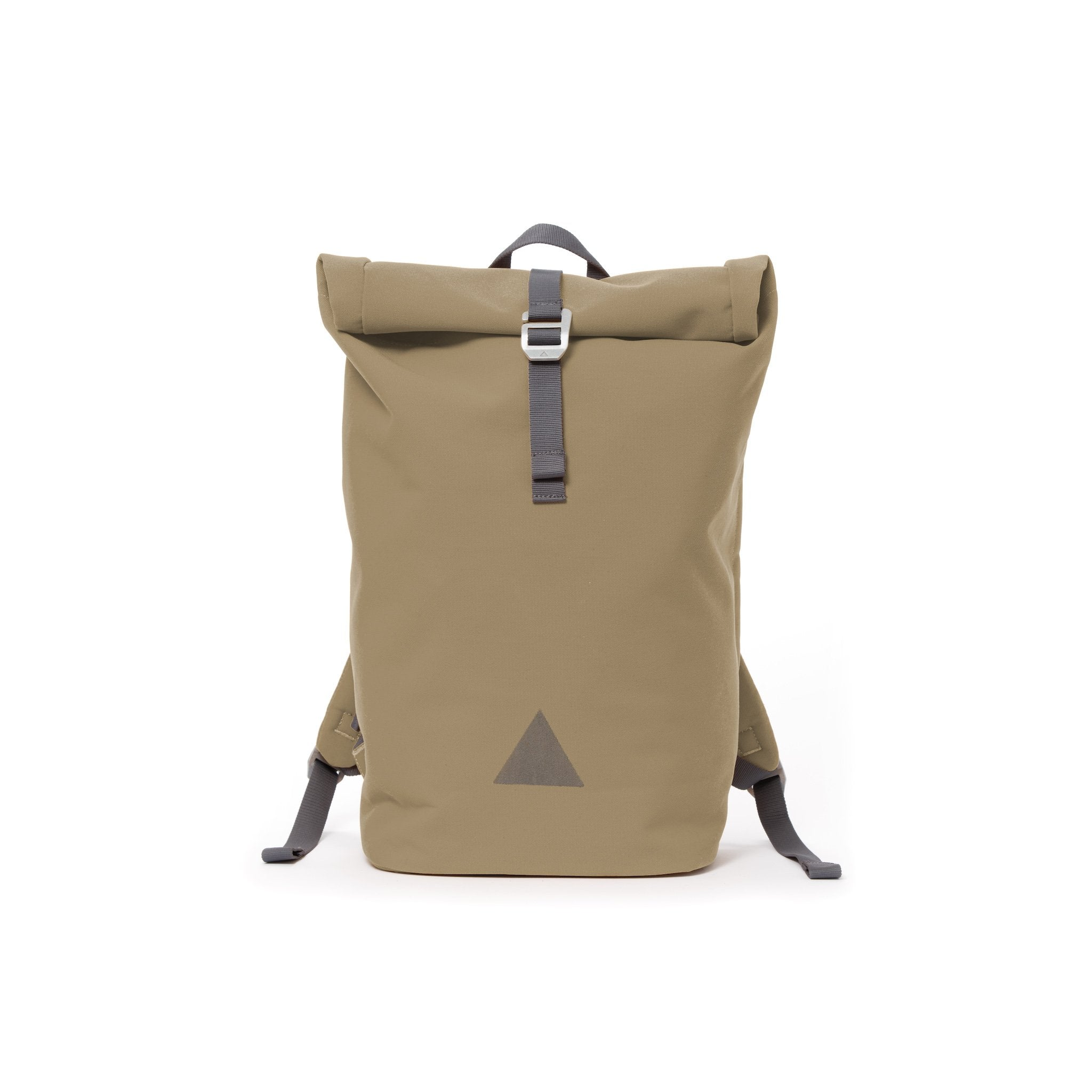 Khaki recycled canvas men's rolltop backpack with triangle logo.