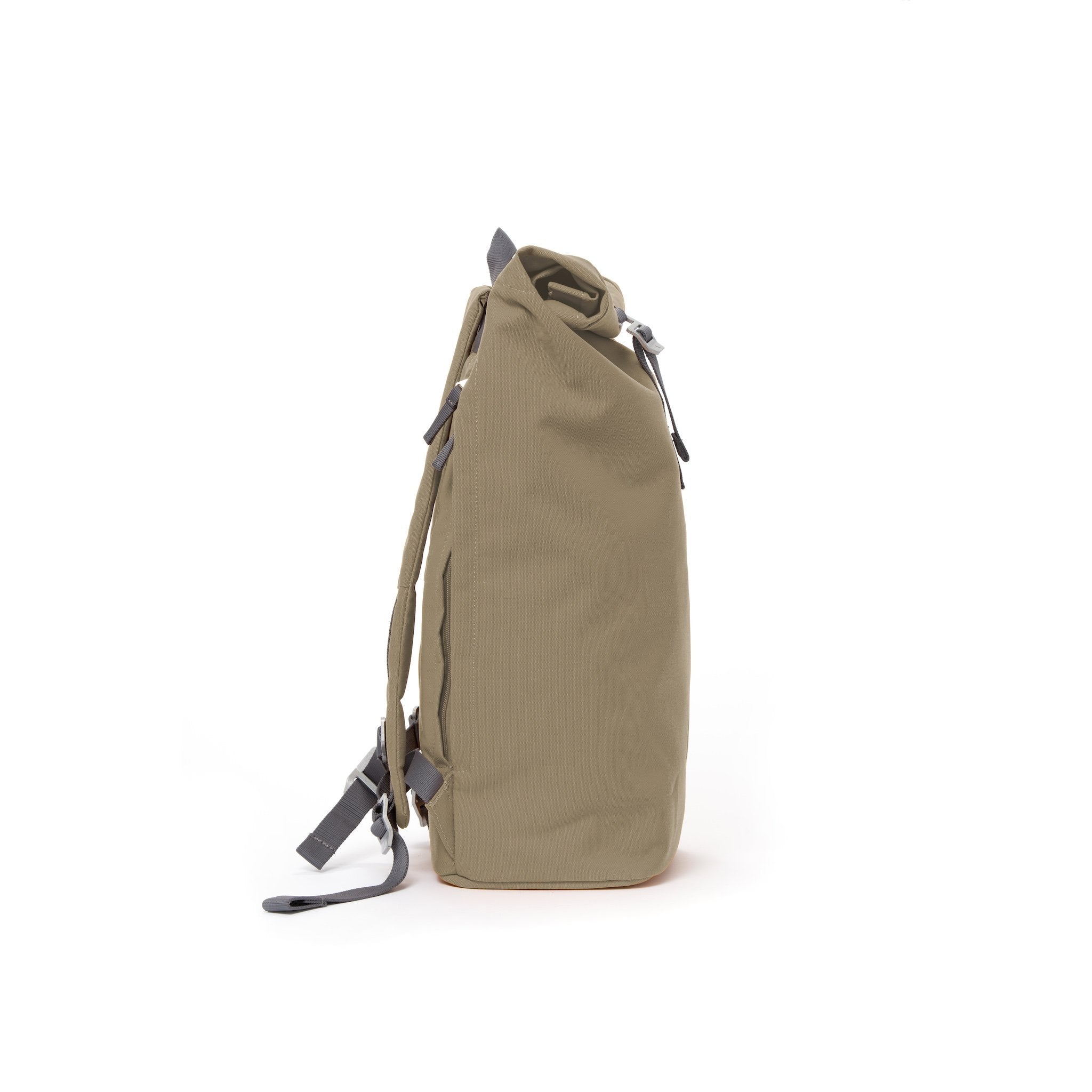 Khaki waterproof canvas men's rolltop backpack.
