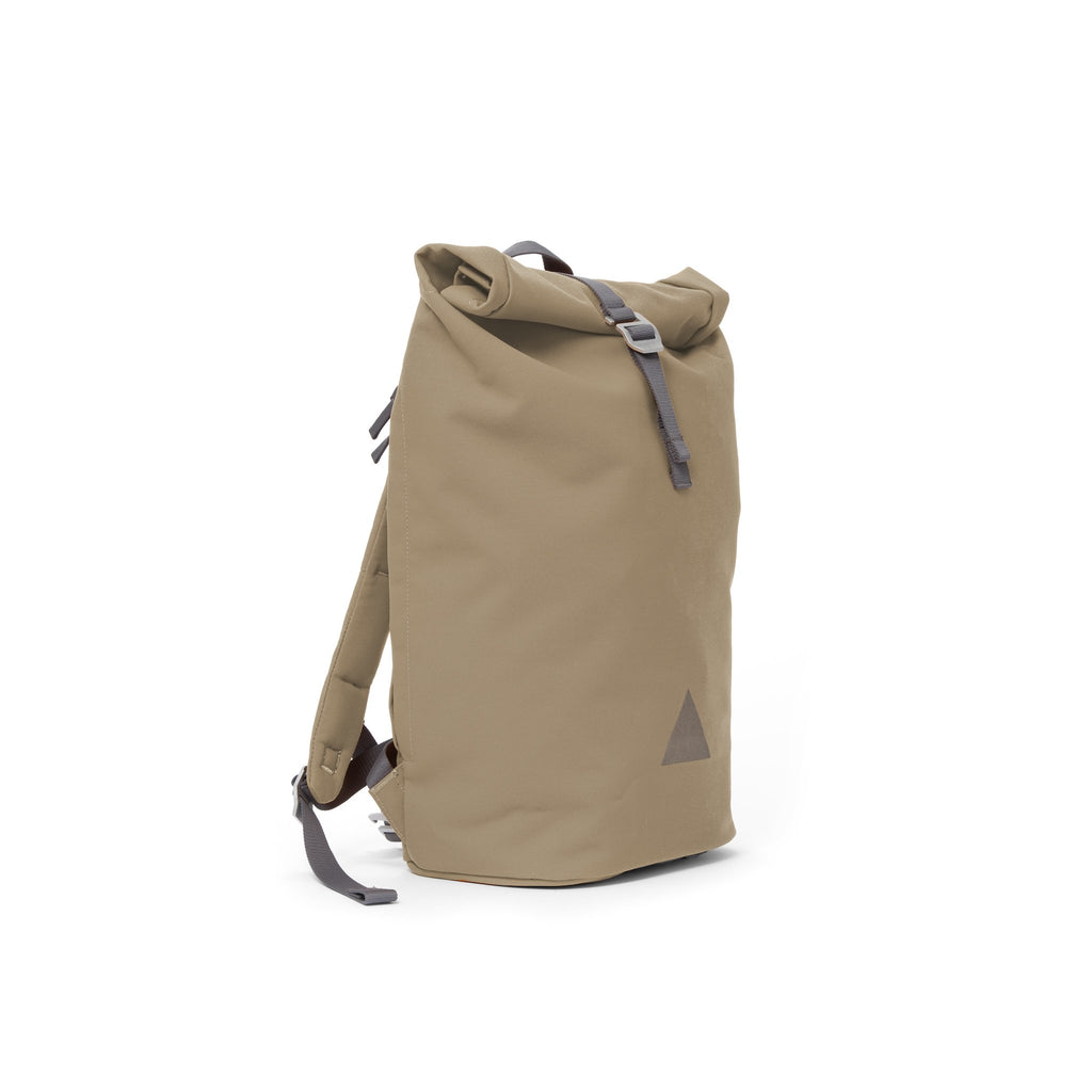 Khaki recycled canvas men's rolltop backpack.