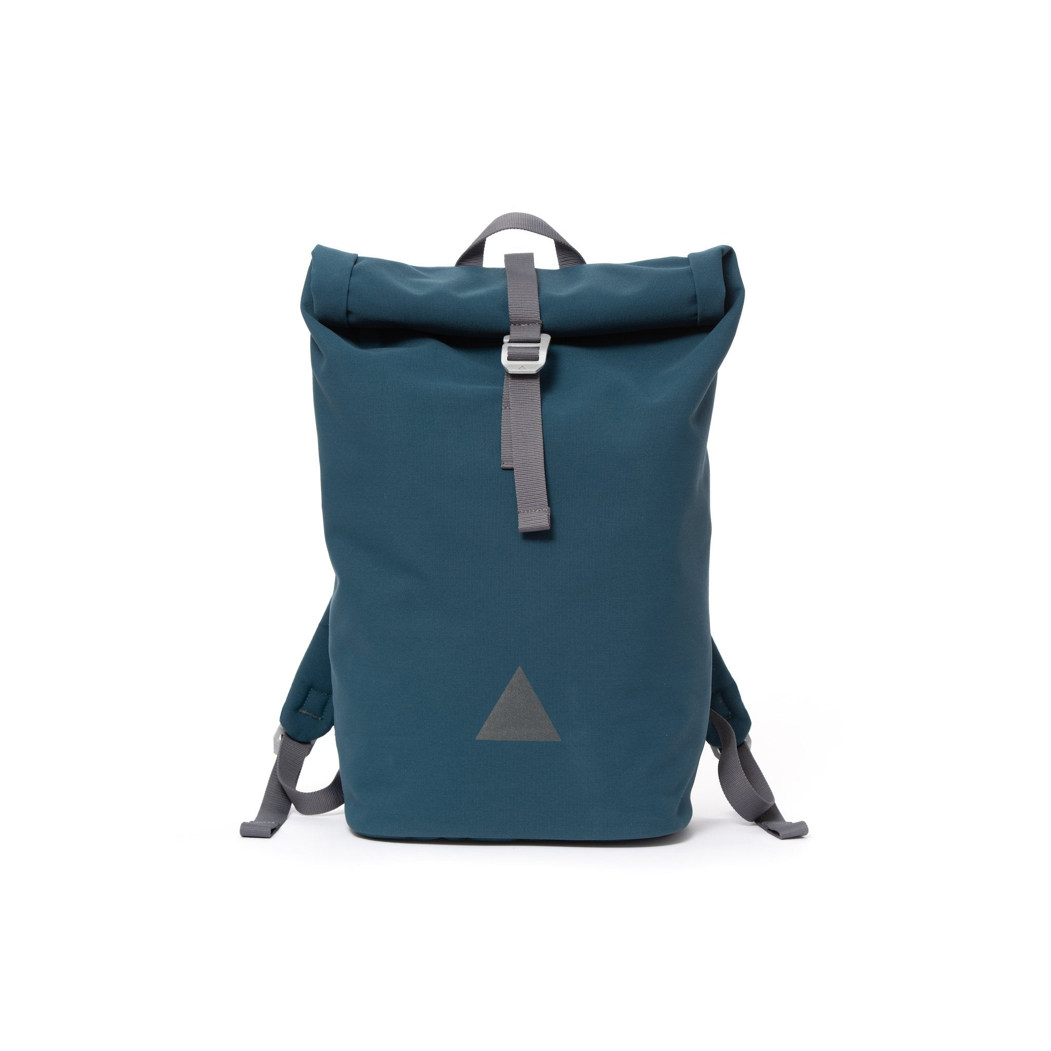 Blue recycled canvas men's rolltop backpack with triangle logo.