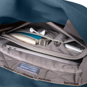 Blue backpack interior organiser pocket with guidebook and earphones.