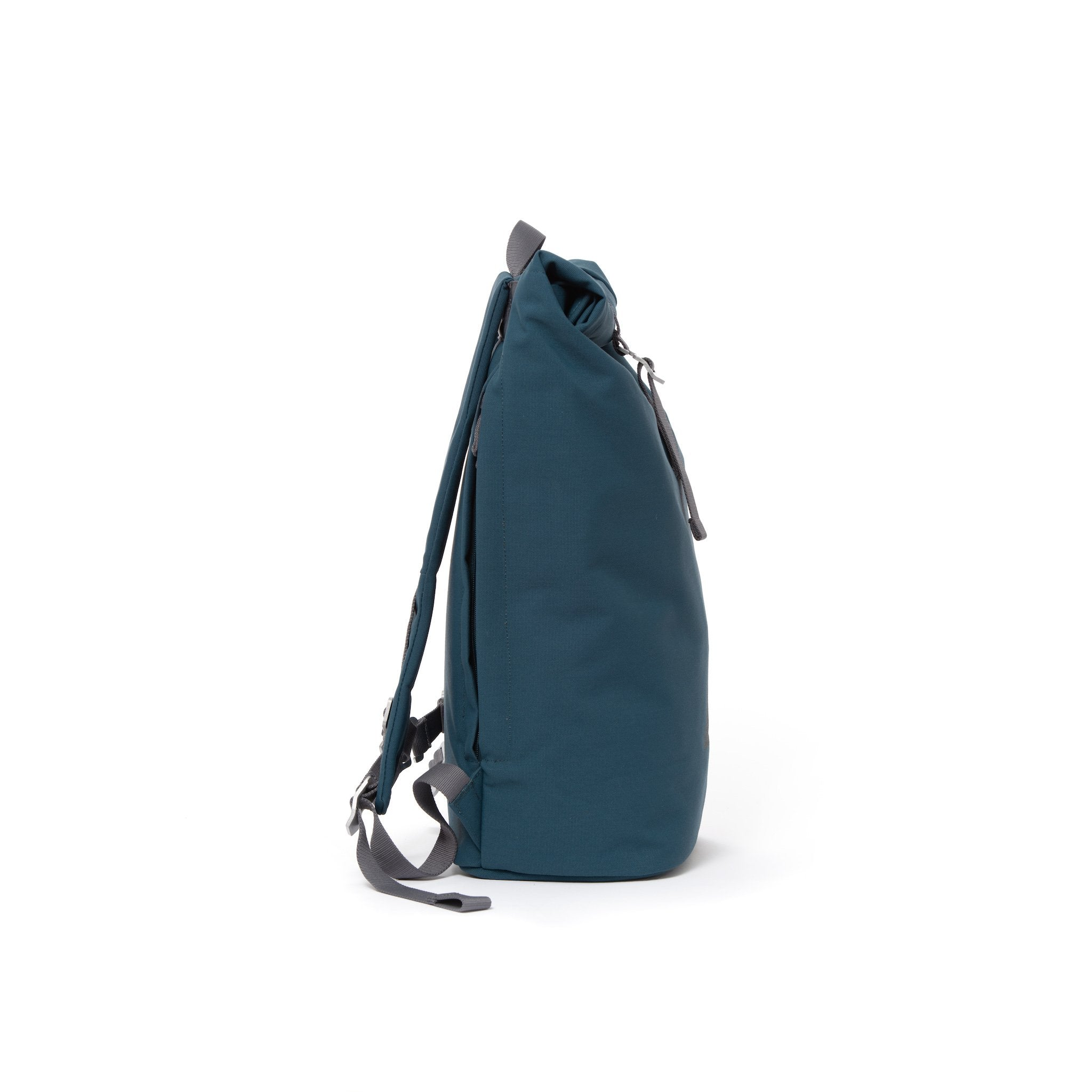 Blue waterproof canvas men's rolltop backpack.