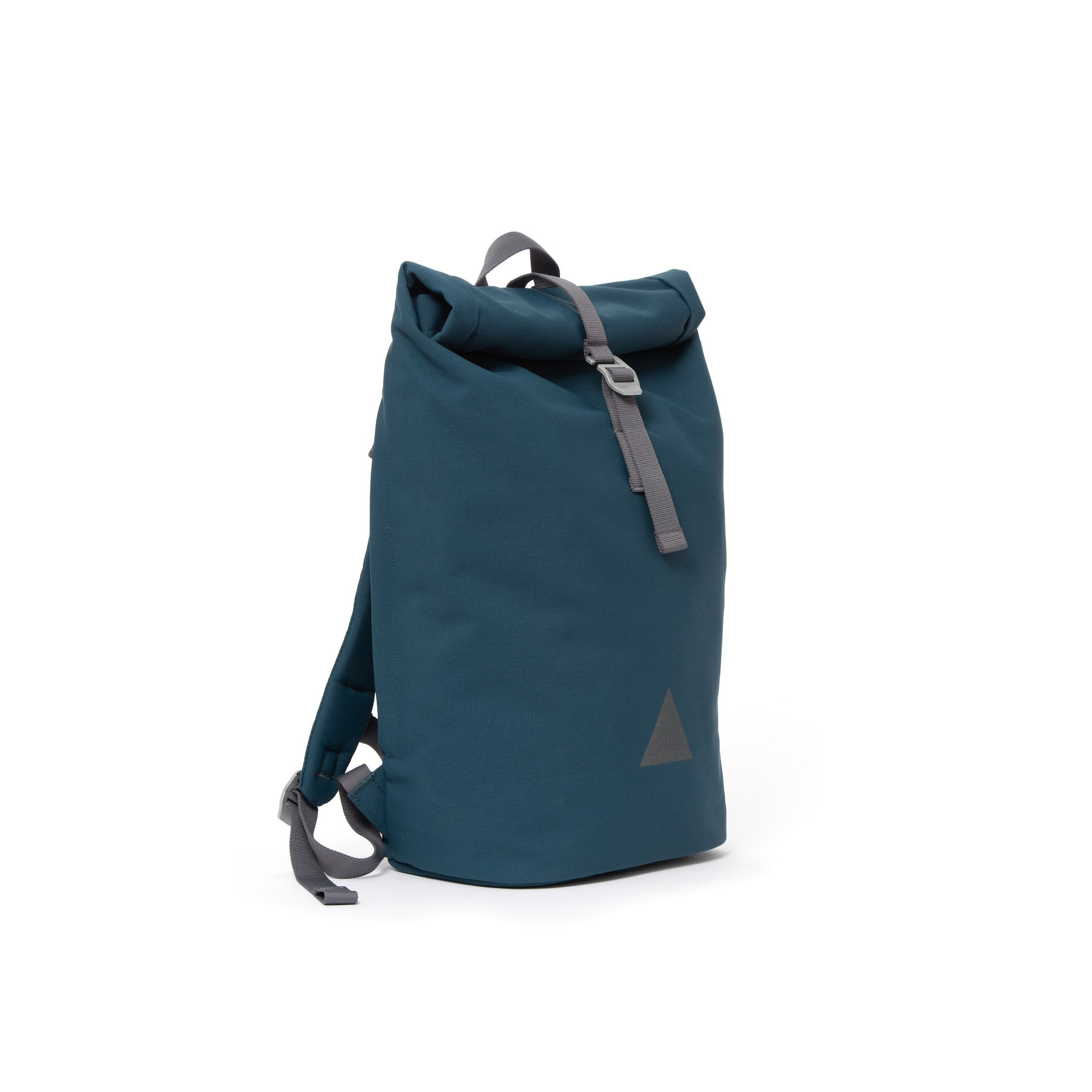 Blue recycled canvas men's rolltop backpack.