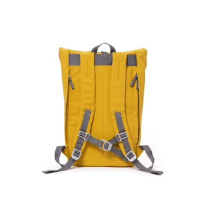 Yellow rolltop backpack with padded shoulder straps and chest strap.