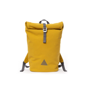 Yellow recycled canvas men's rolltop backpack with triangle logo.