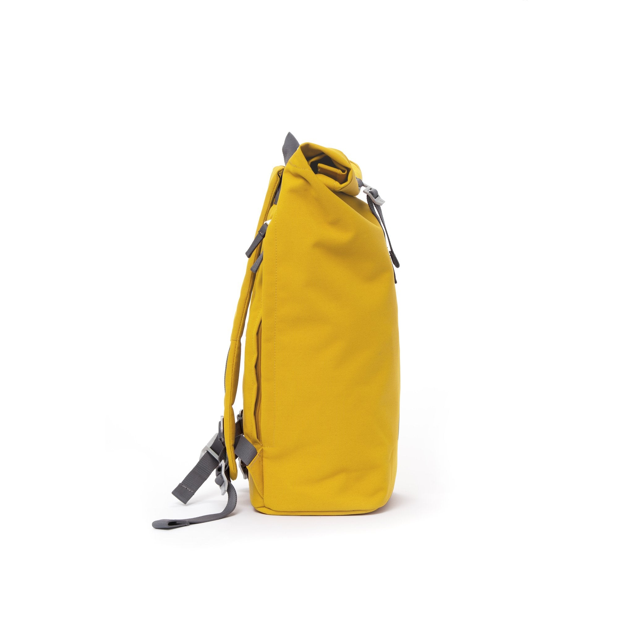 Yellow waterproof canvas men's rolltop backpack.