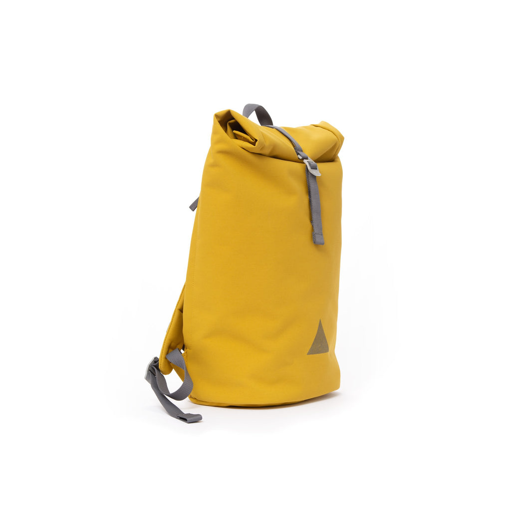 Yellow recycled canvas men's rolltop backpack.
