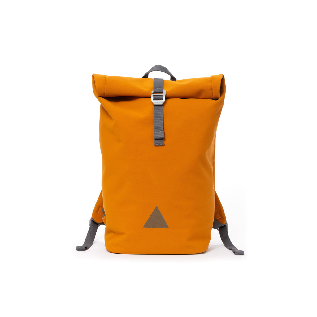 Orange recycled canvas men's rolltop backpack with triangle logo.