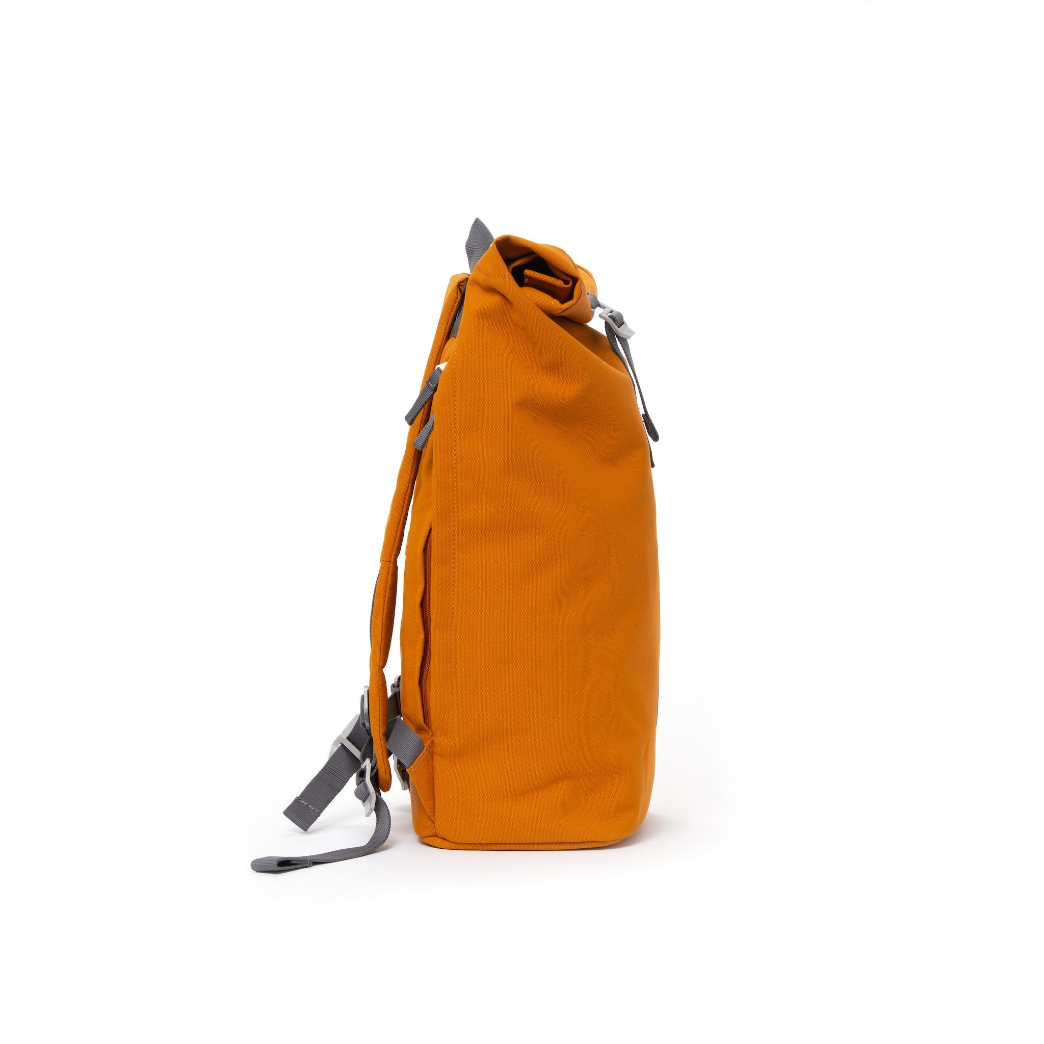 Orange waterproof canvas men's rolltop backpack.