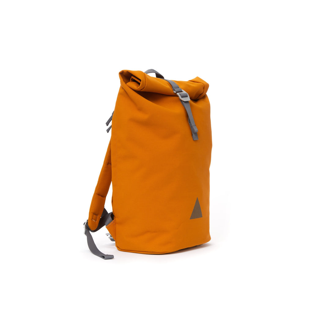 Orange recycled canvas men's rolltop backpack.