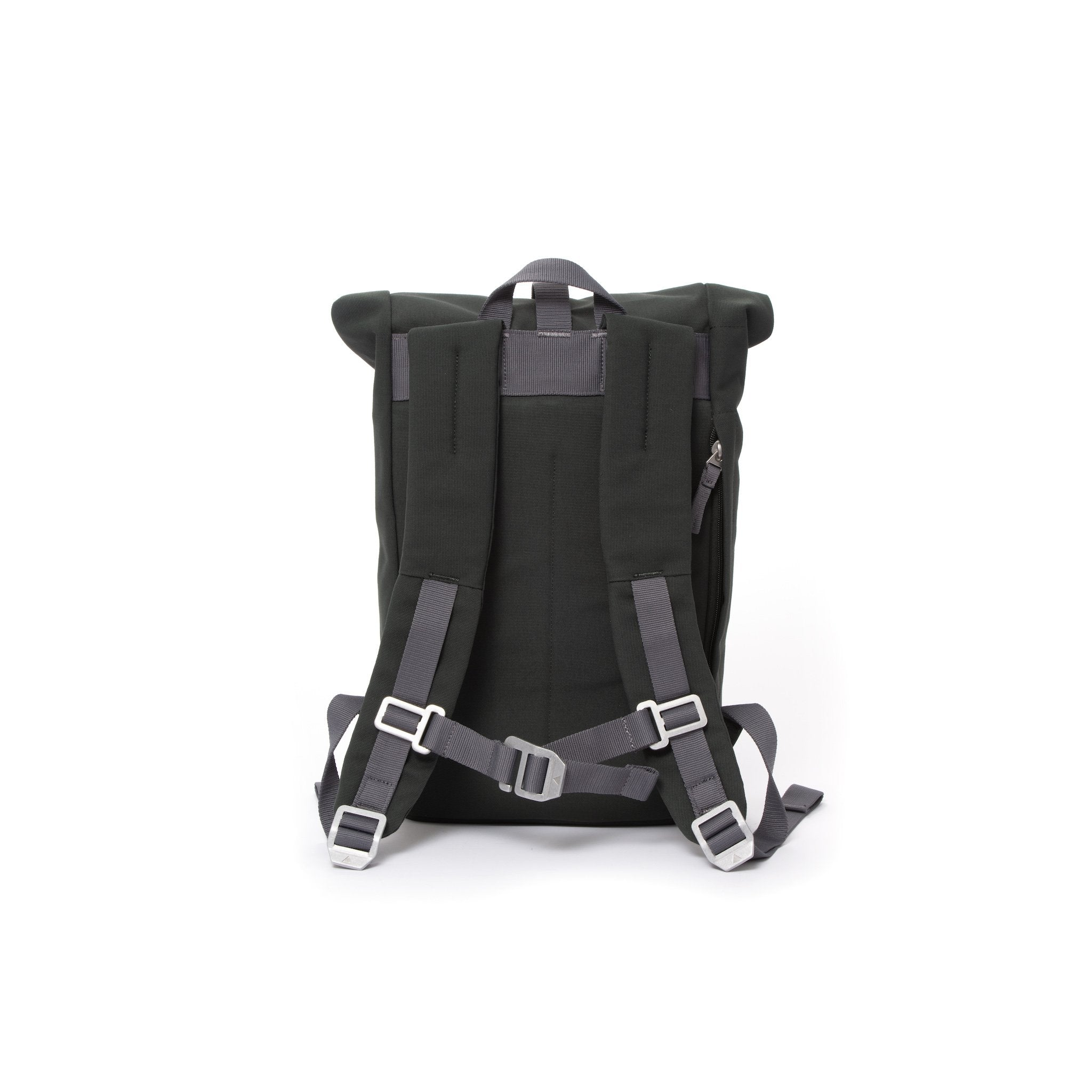 Grey small rolltop backpack with padded shoulder straps and chest strap.