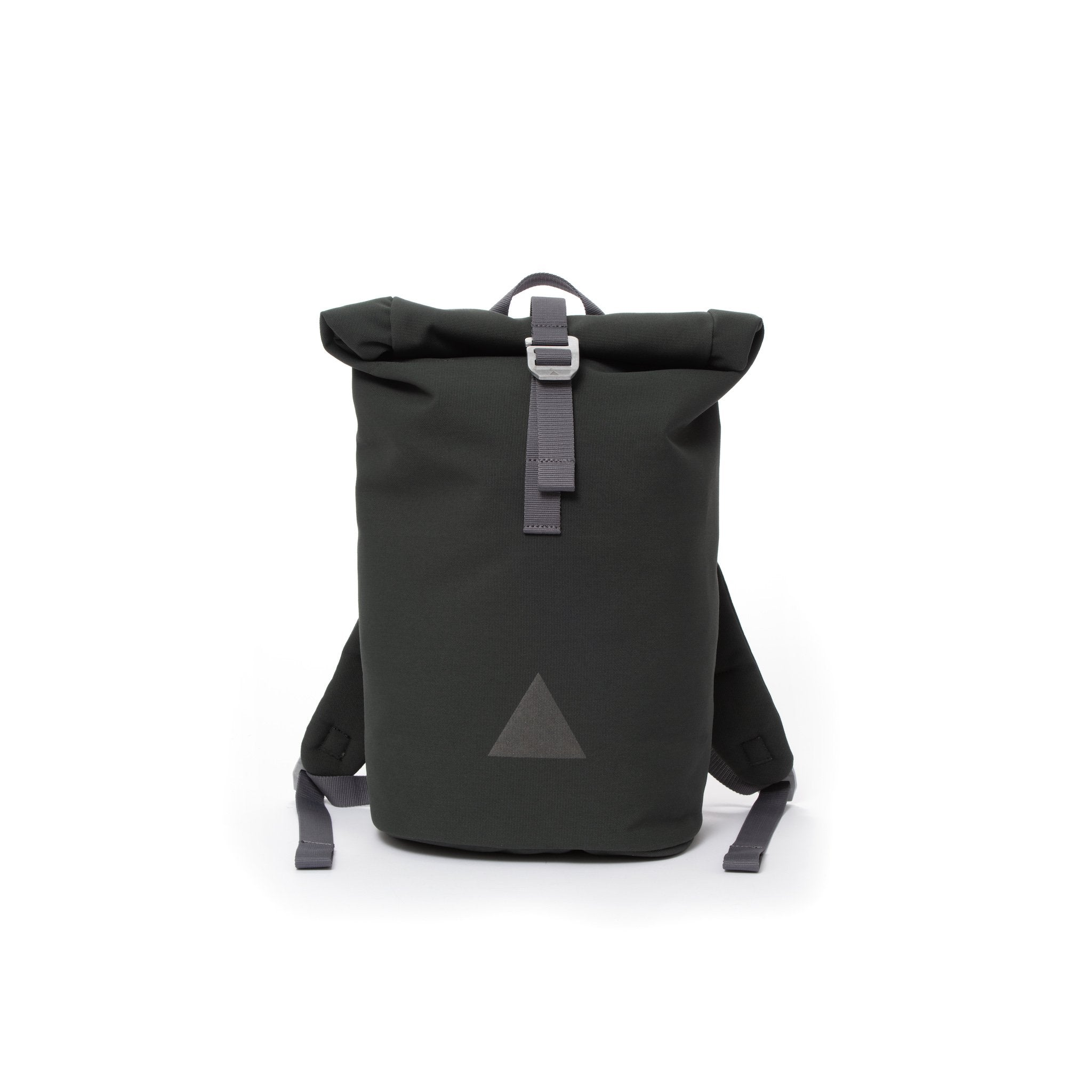 Grey recycled canvas women's rolltop backpack with triangle logo.