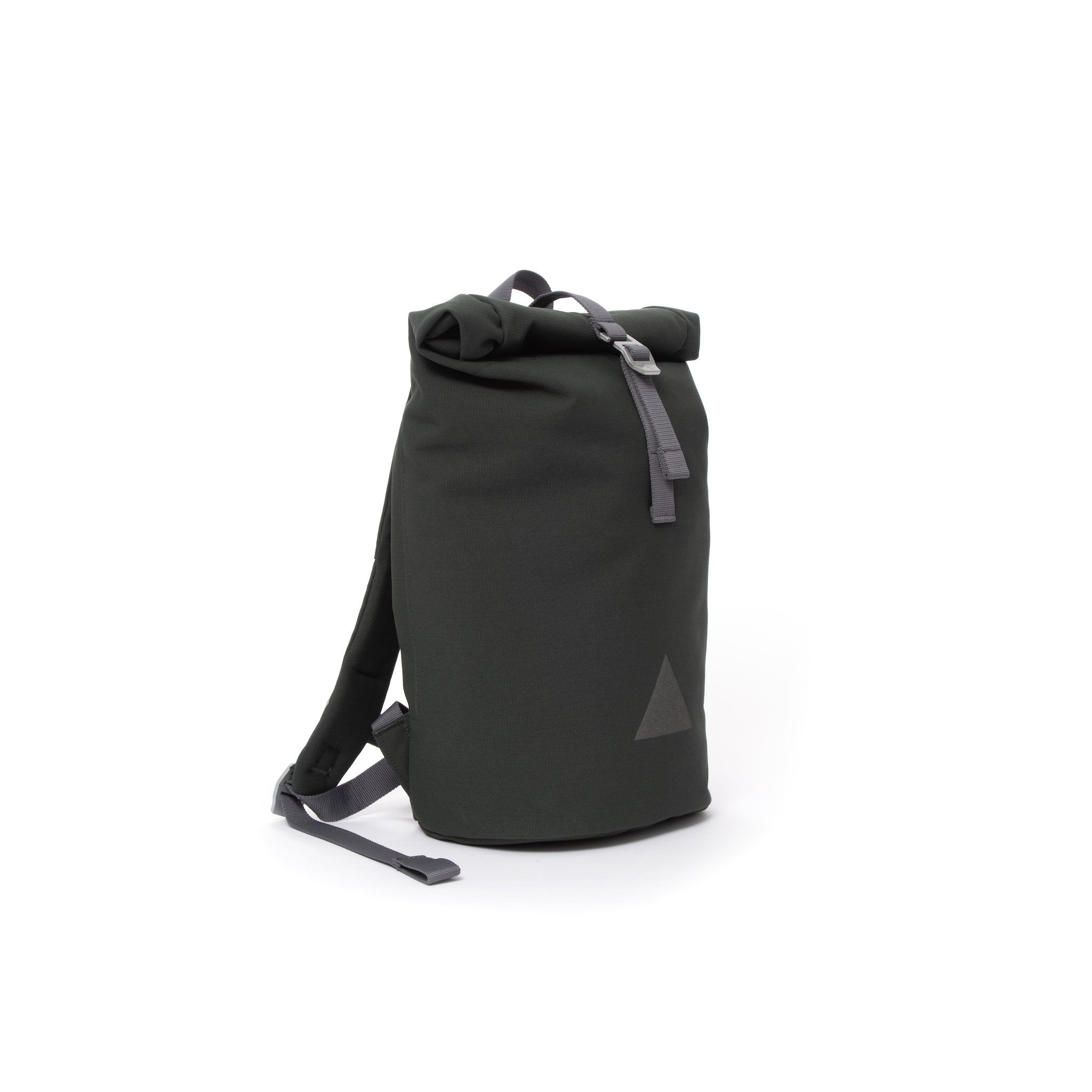Grey recycled canvas women's rolltop backpack.