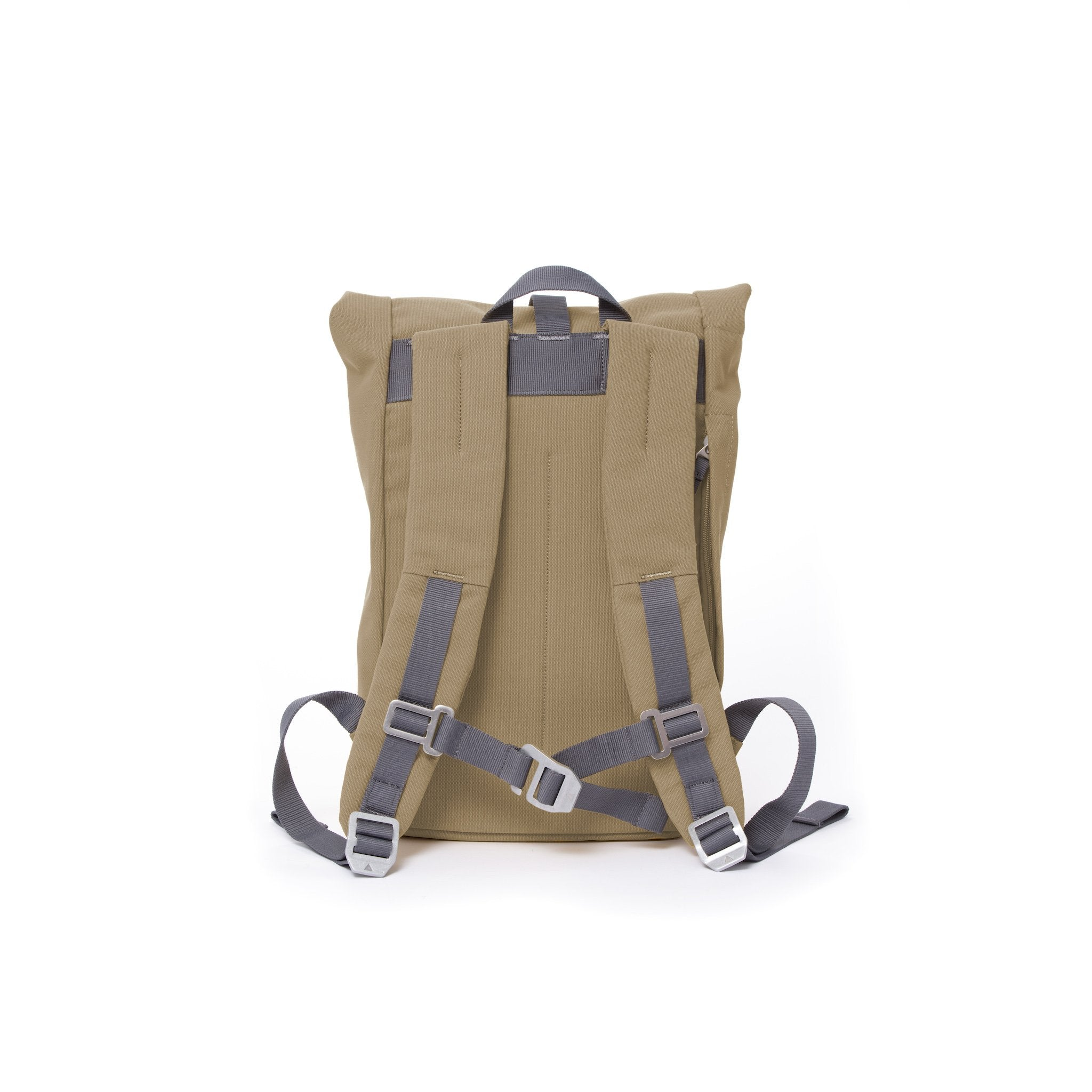 Khaki small rolltop backpack with padded shoulder straps and chest strap.
