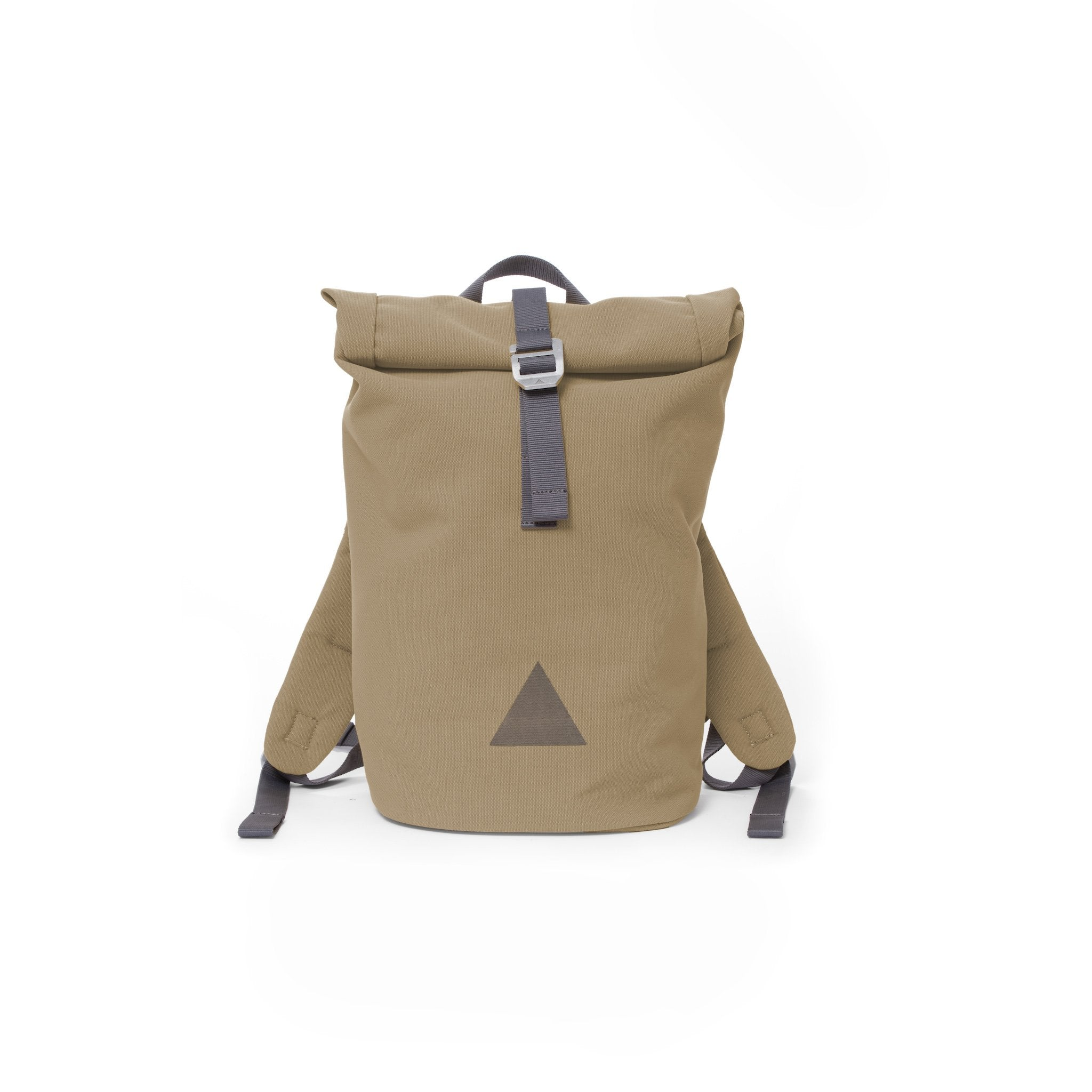 Khaki recycled canvas women's rolltop backpack with triangle logo.
