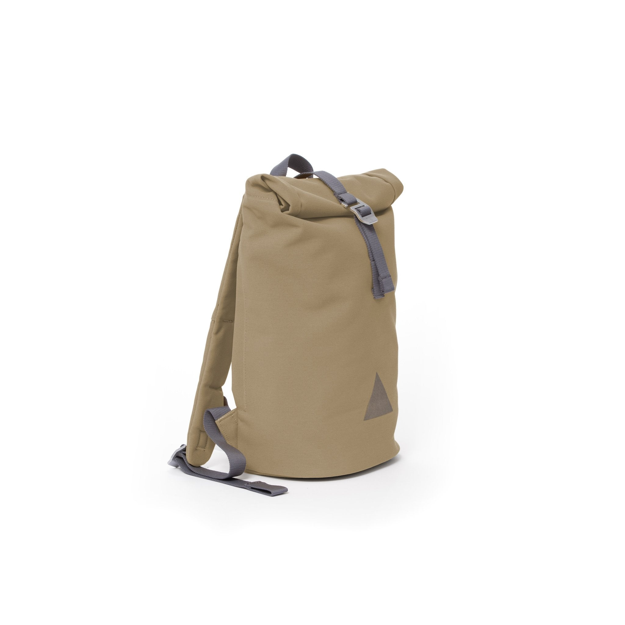 Khaki recycled canvas women's rolltop backpack.