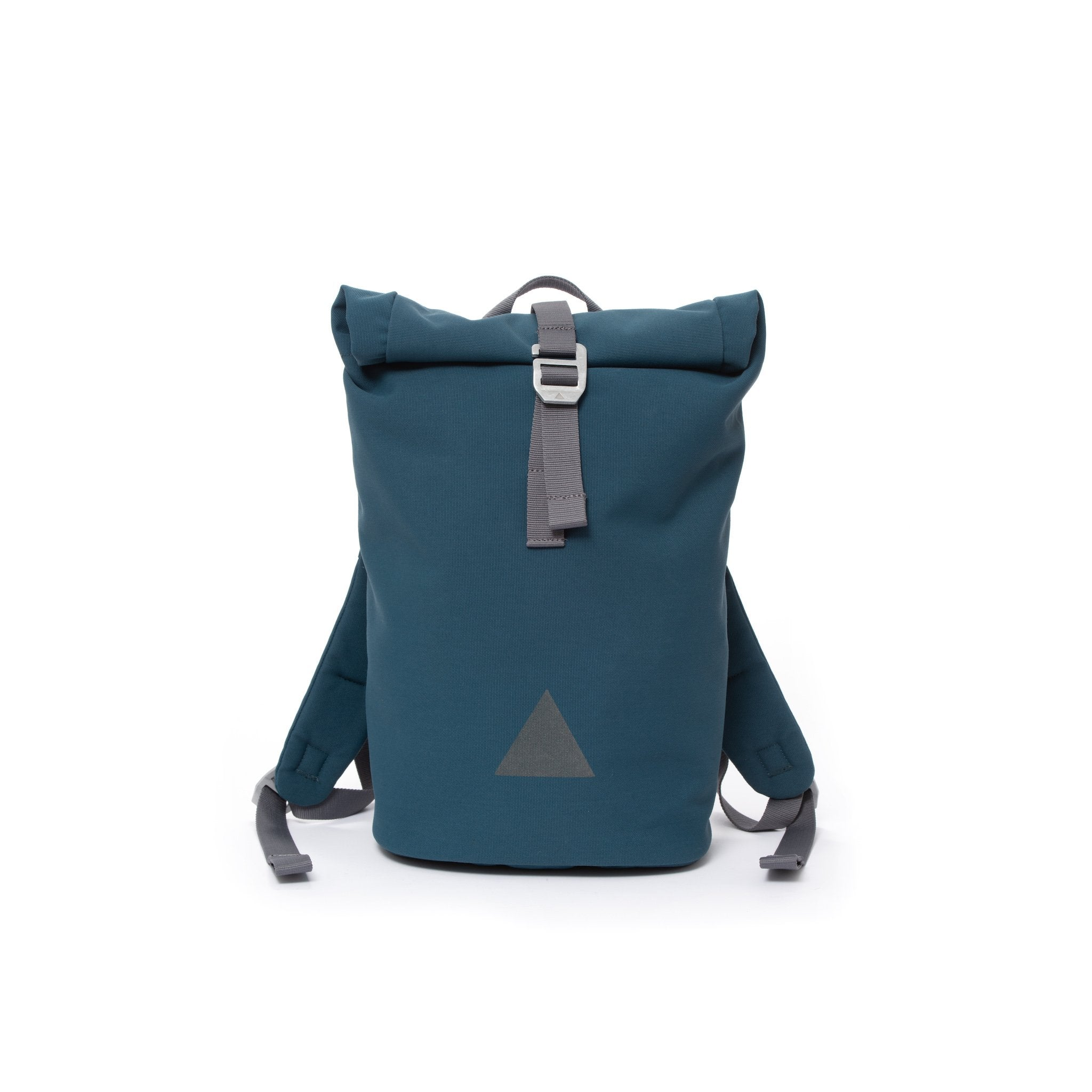 Blue recycled canvas women's rolltop backpack with triangle logo.