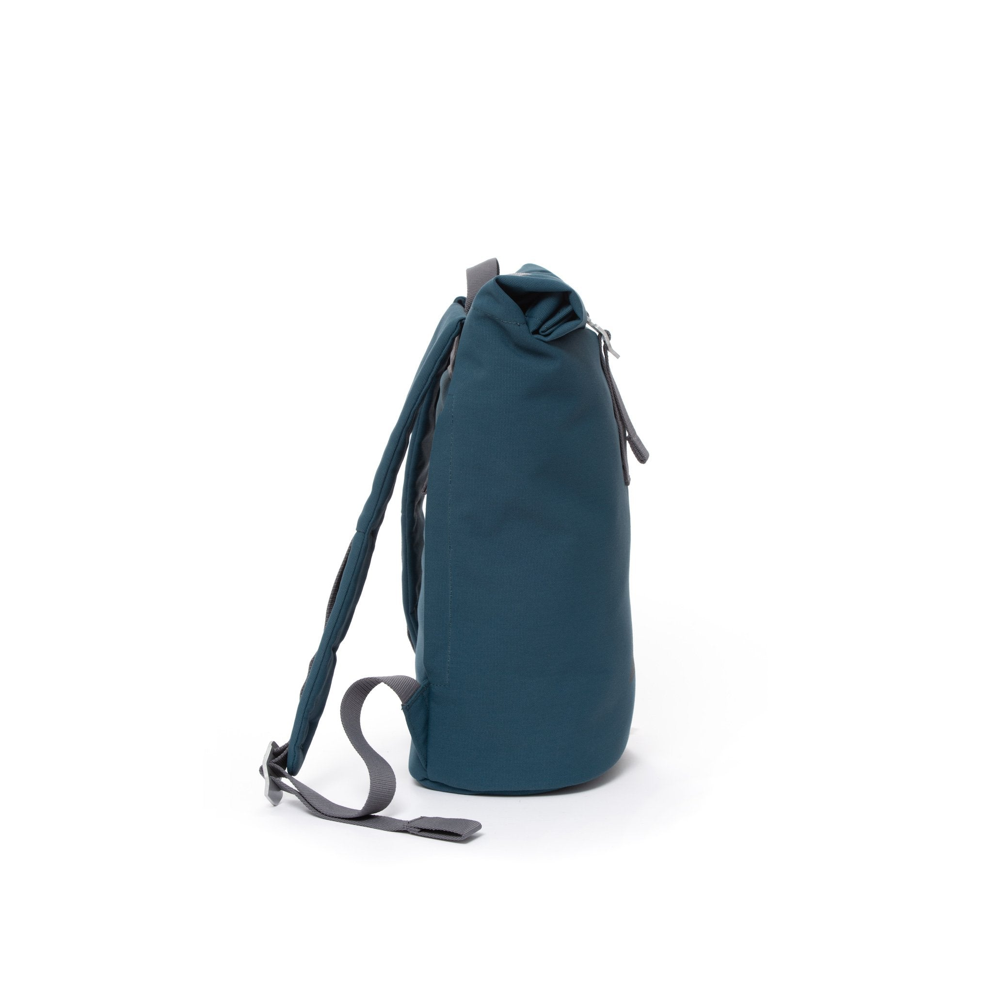 Blue waterproof canvas women's rolltop backpack.