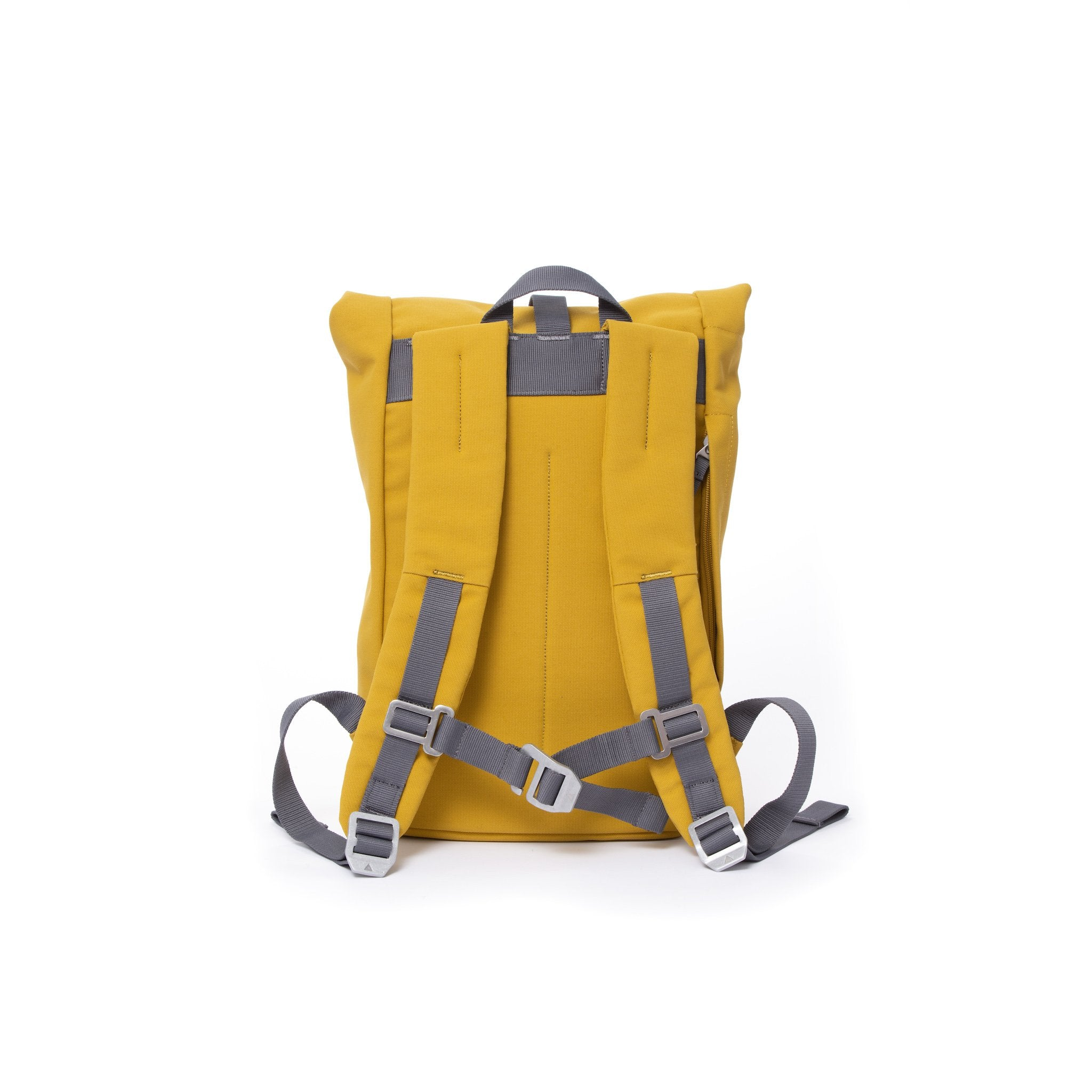 Yellow small rolltop backpack with padded shoulder straps and chest strap.