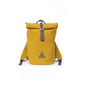 Yellow recycled canvas women's rolltop backpack with triangle logo.