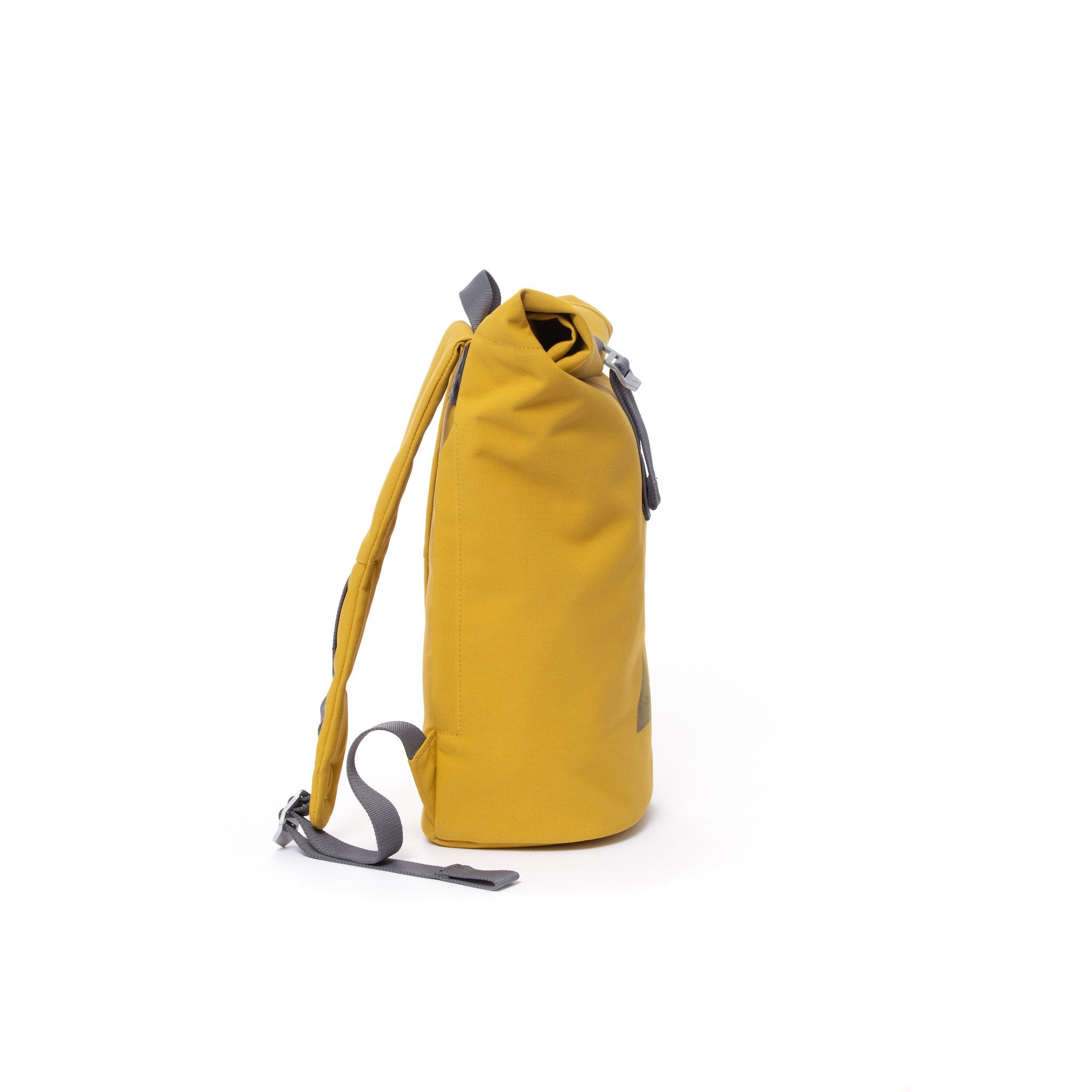 Yellow waterproof canvas women's rolltop backpack.