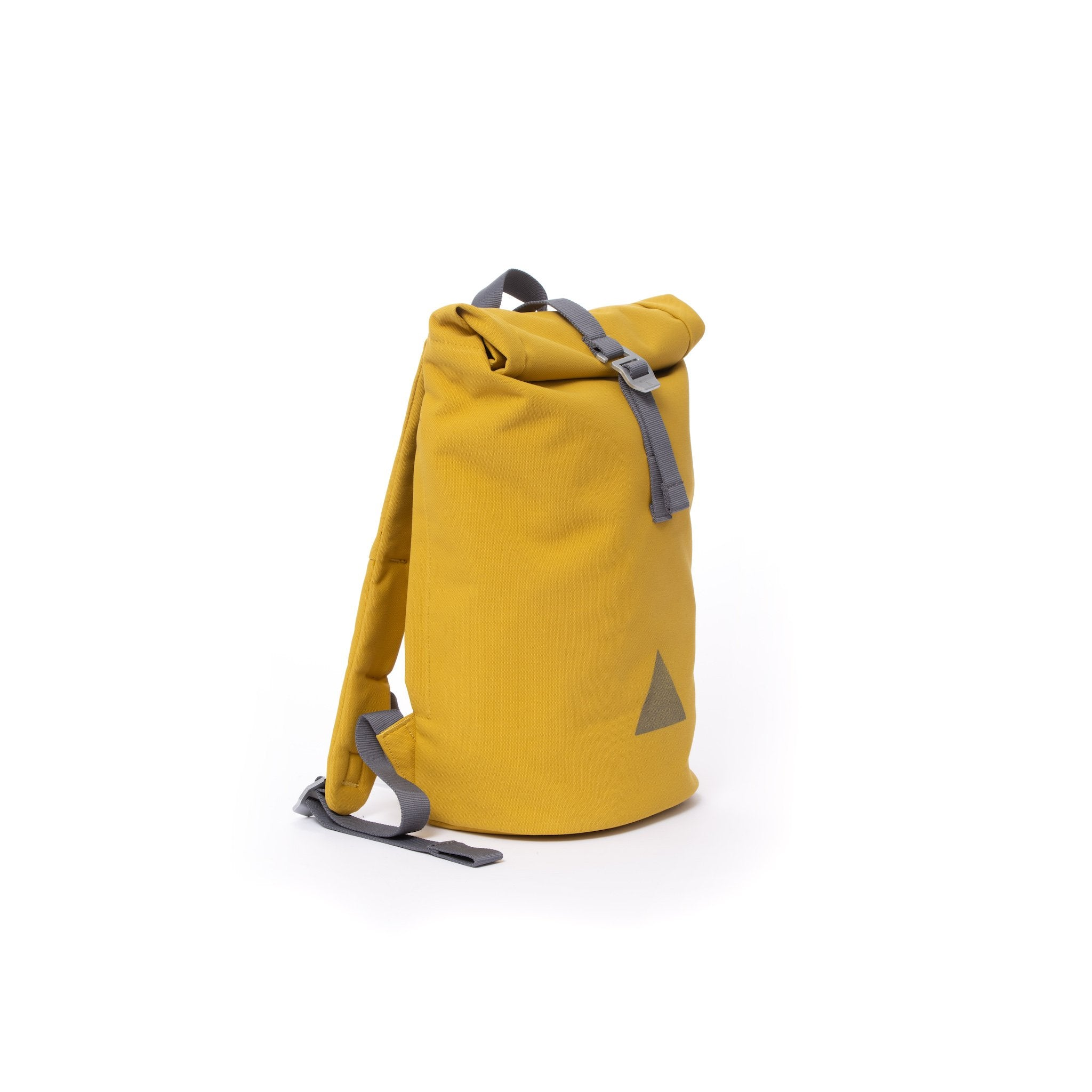 Yellow recycled canvas women's rolltop backpack.