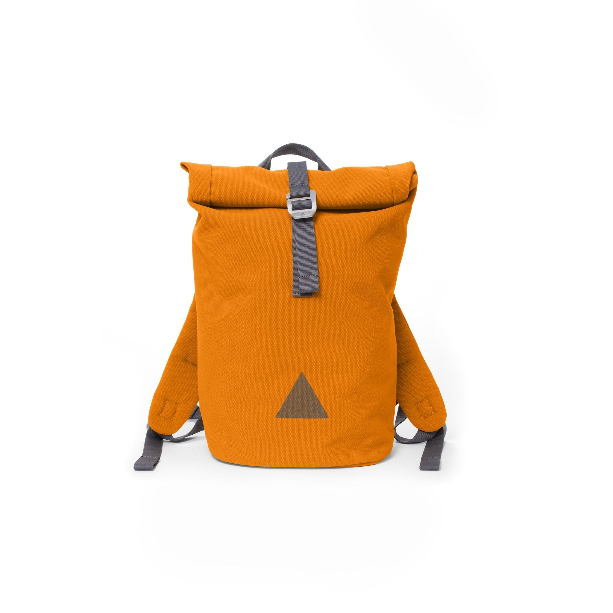 Orange recycled canvas women's rolltop backpack with triangle logo.