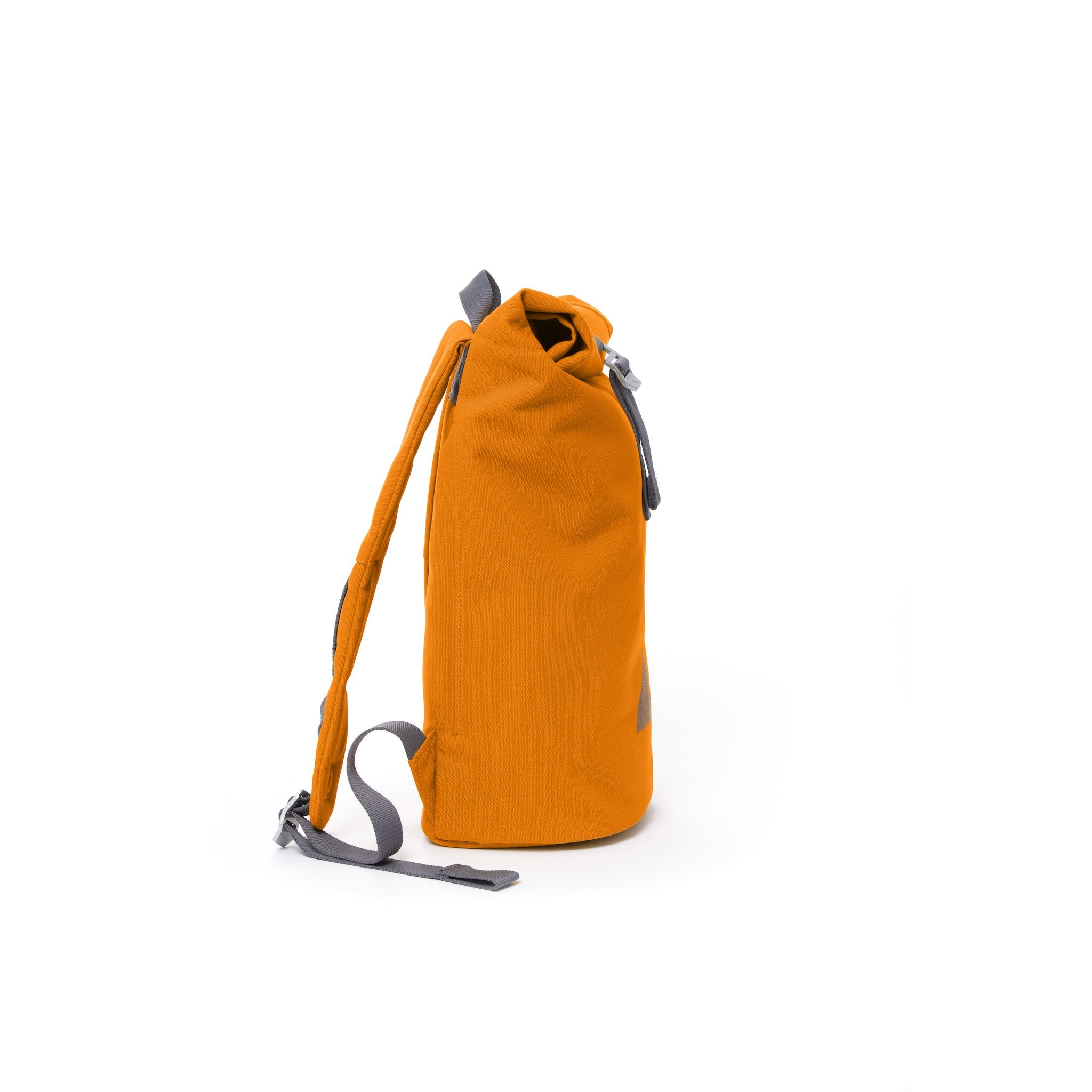 Orange waterproof canvas women's rolltop backpack.